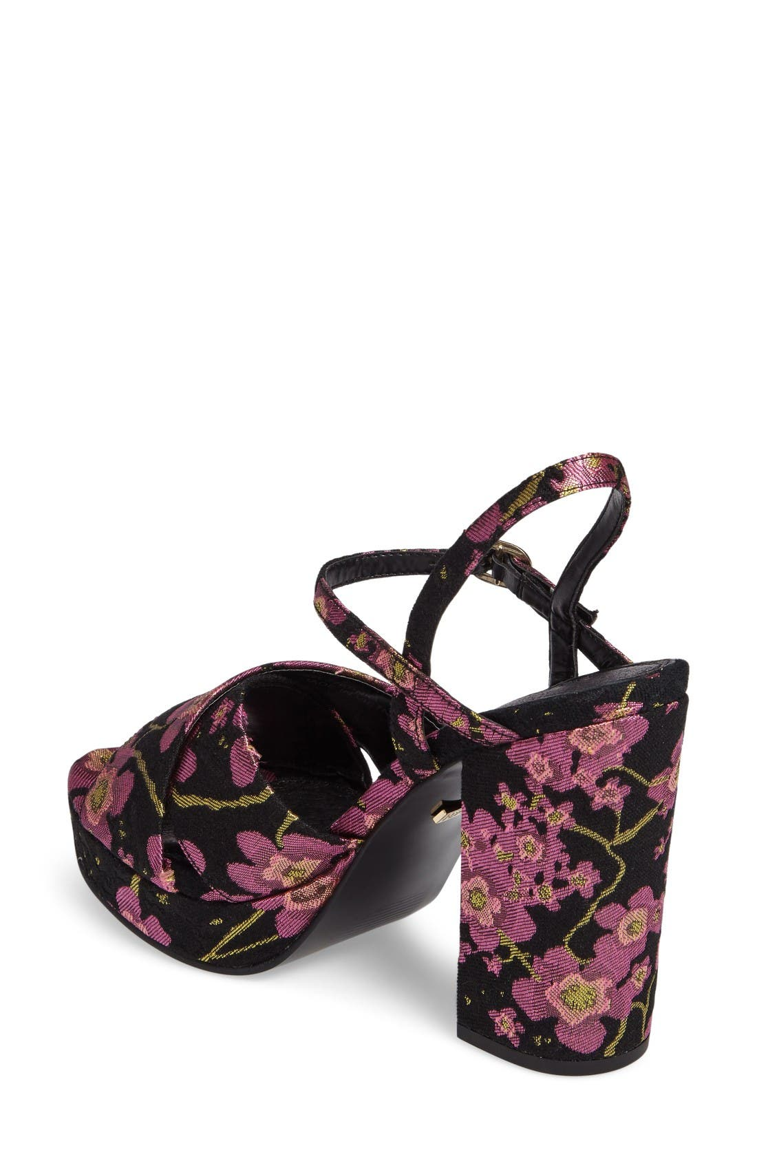 'Leona' Print Platform Sandal,                             Alternate thumbnail 2, color,                             Dark Pink Multi