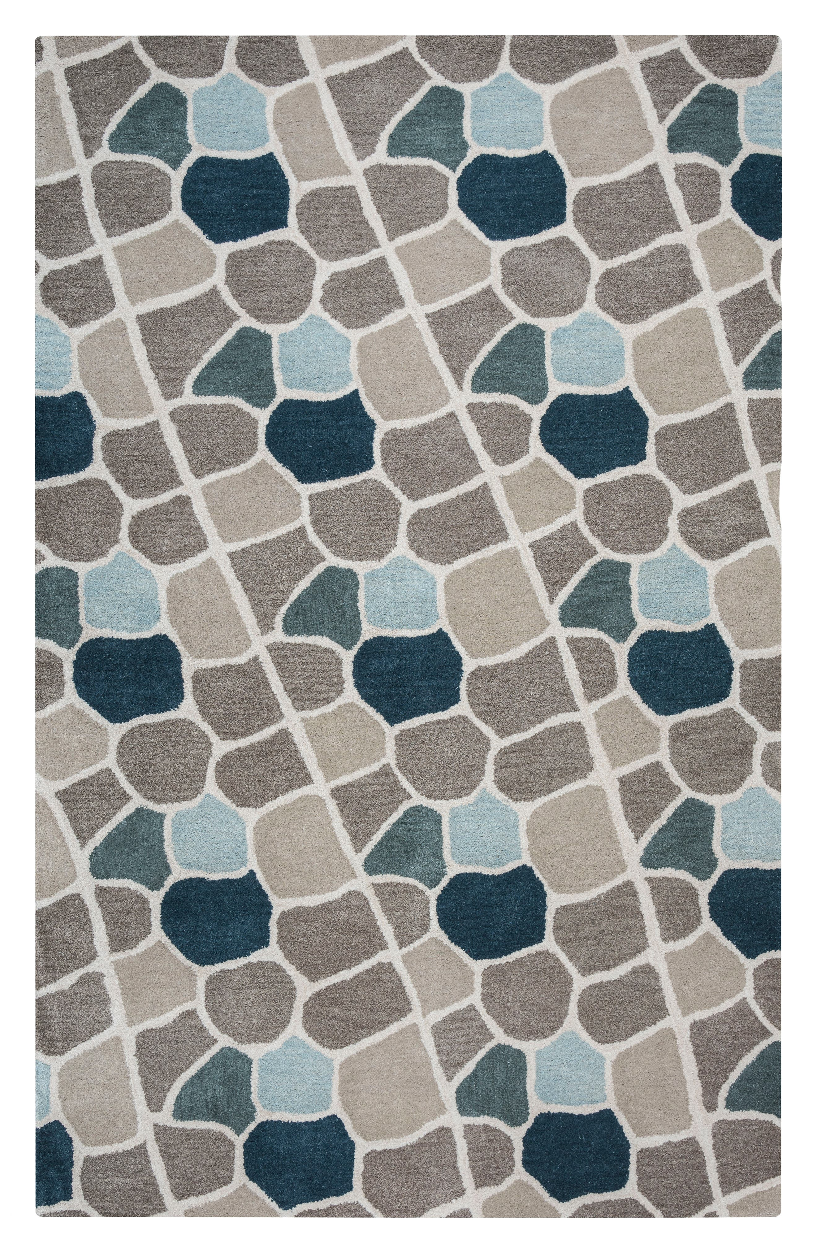 Cobble Geo Hand Tufted Wool Area Rug,                         Main,                         color, Grey/ Blue