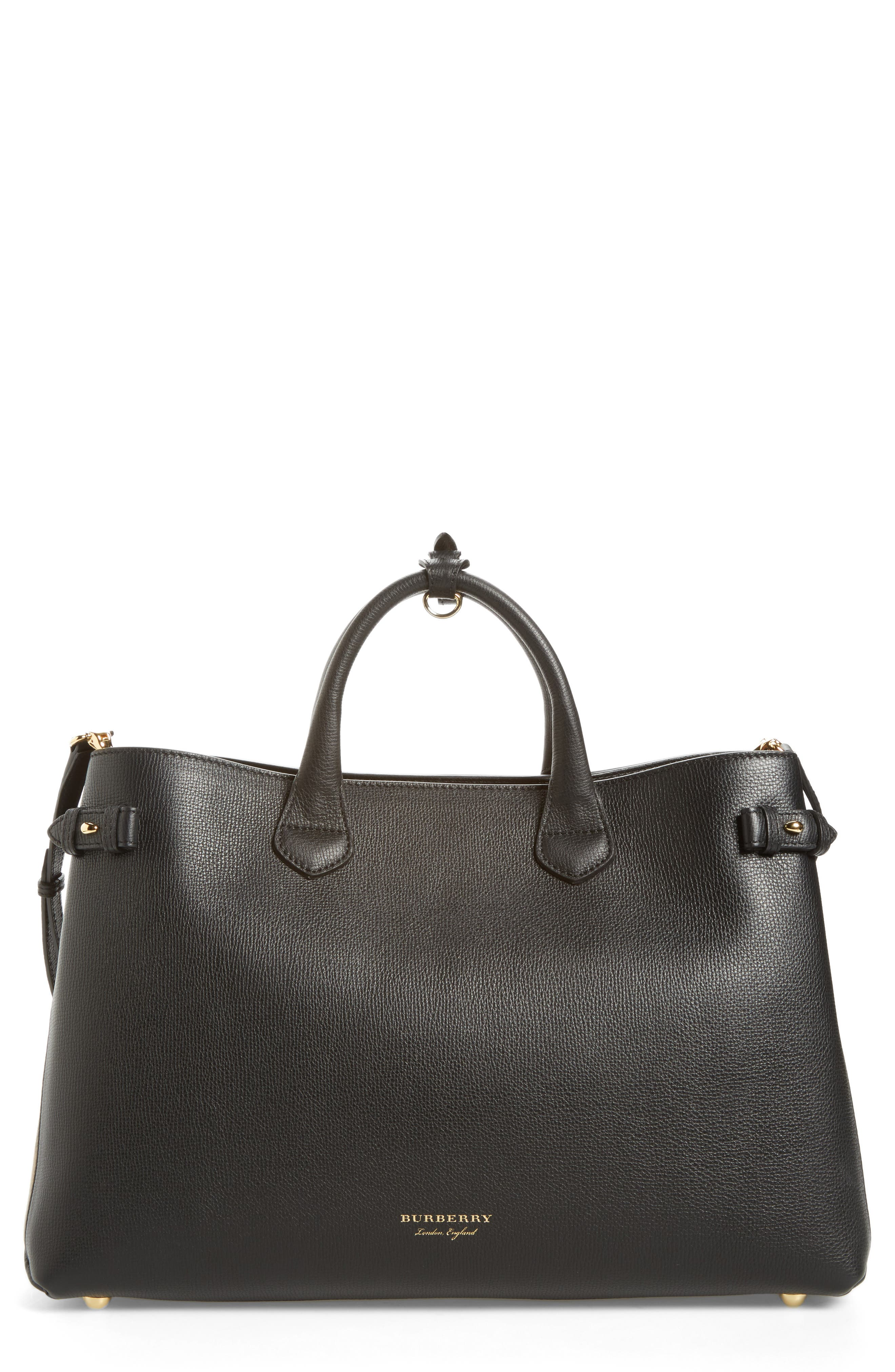 Large Banner - Derby House Check Calfskin Leather Tote,                         Main,                         color, Black