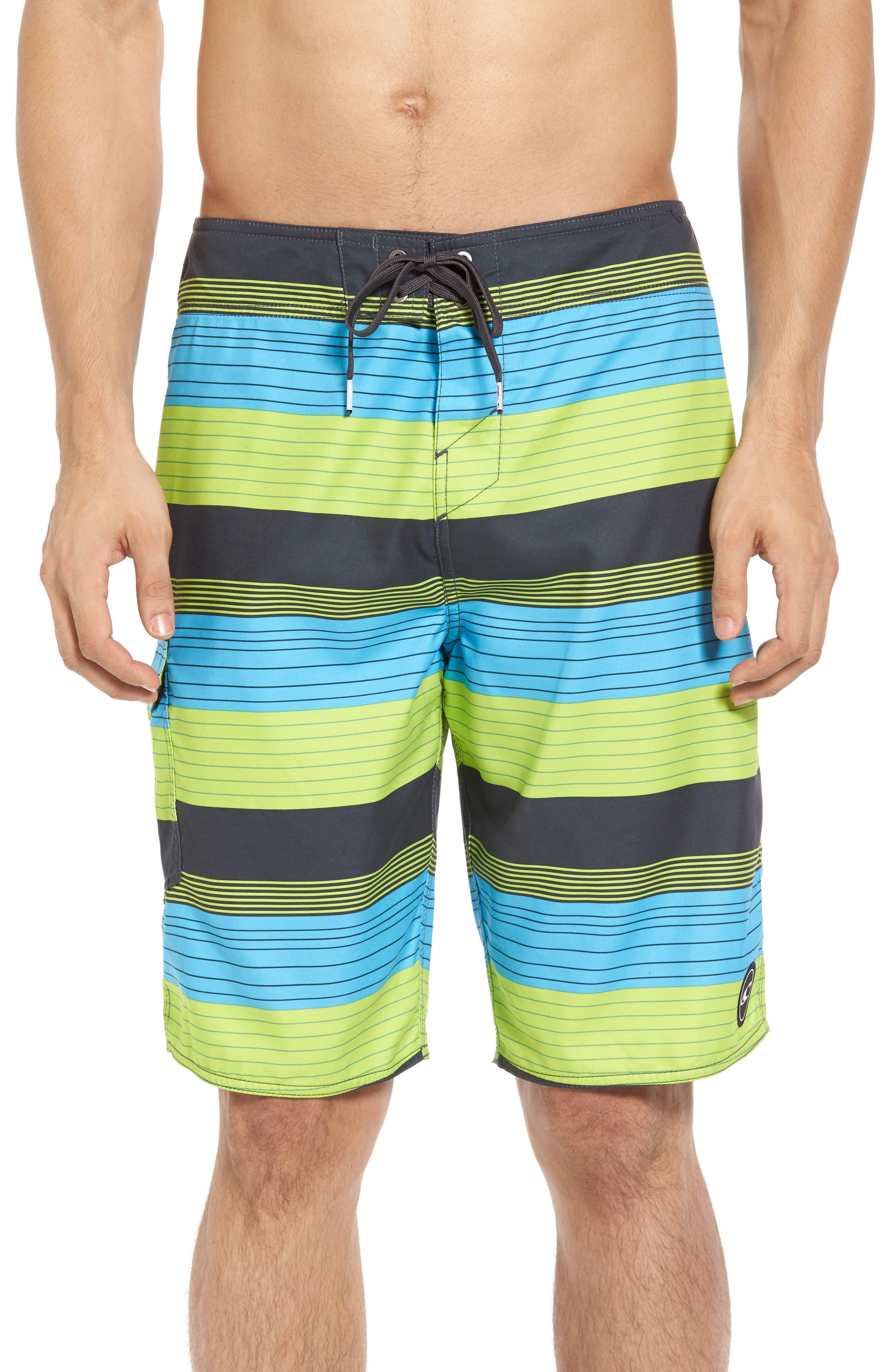 Santa Cruz Stripe Board Shorts,                             Main thumbnail 1, color,                             Lime