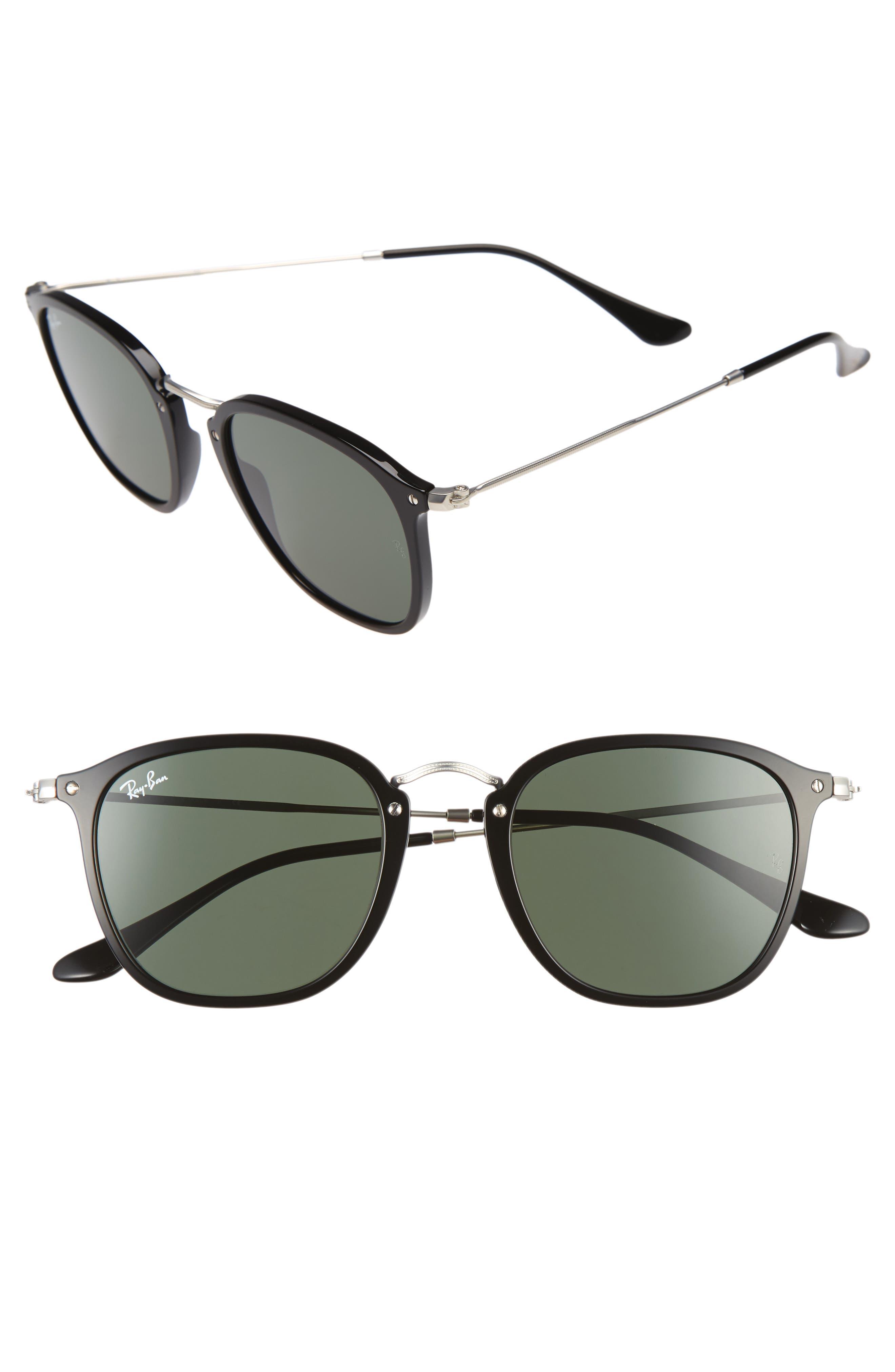 Icons 51mm Aviator Sunglasses,                             Main thumbnail 1, color,                             Black