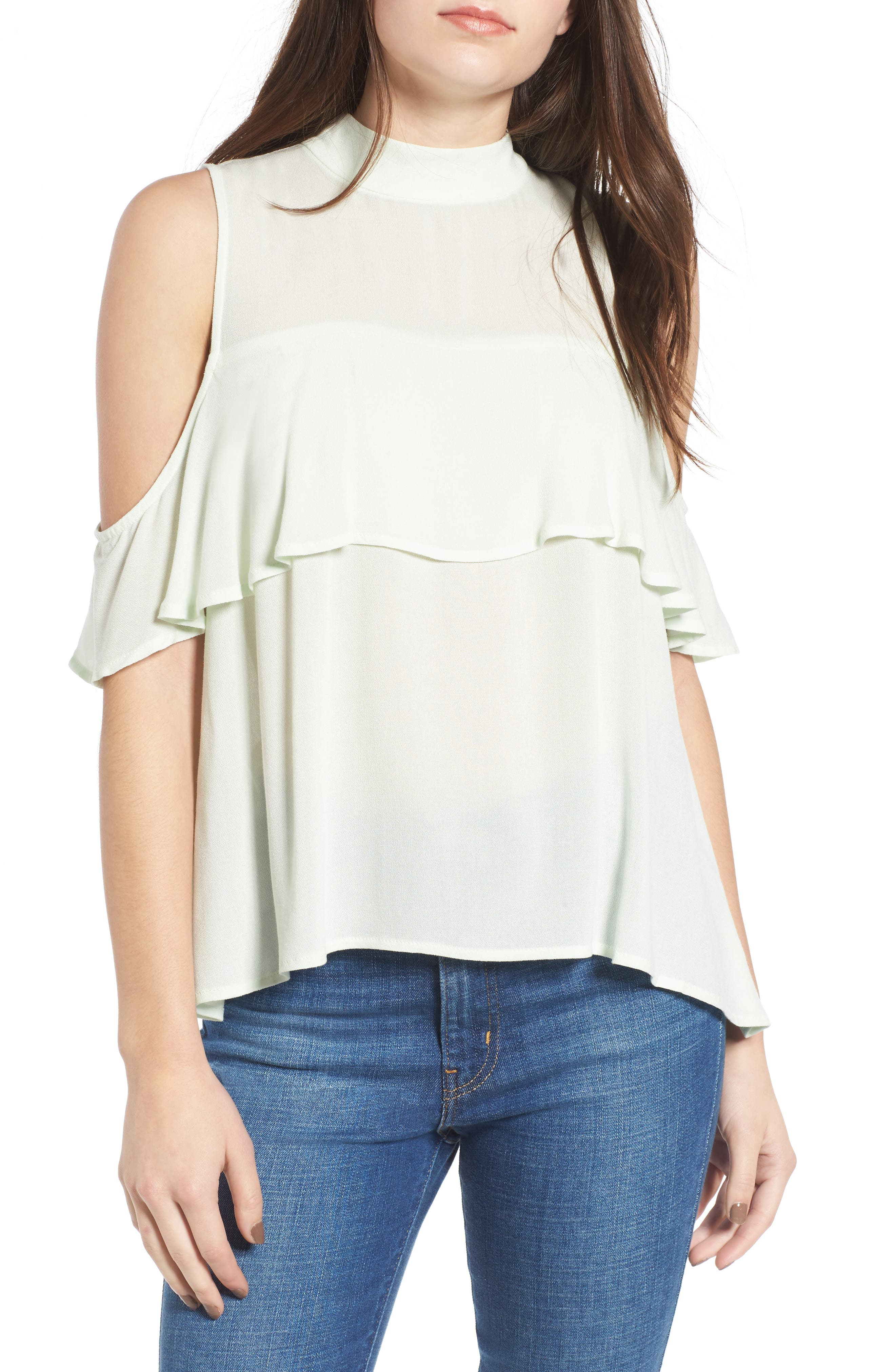 Main Image - BP. Ruffle Cold Shoulder Top