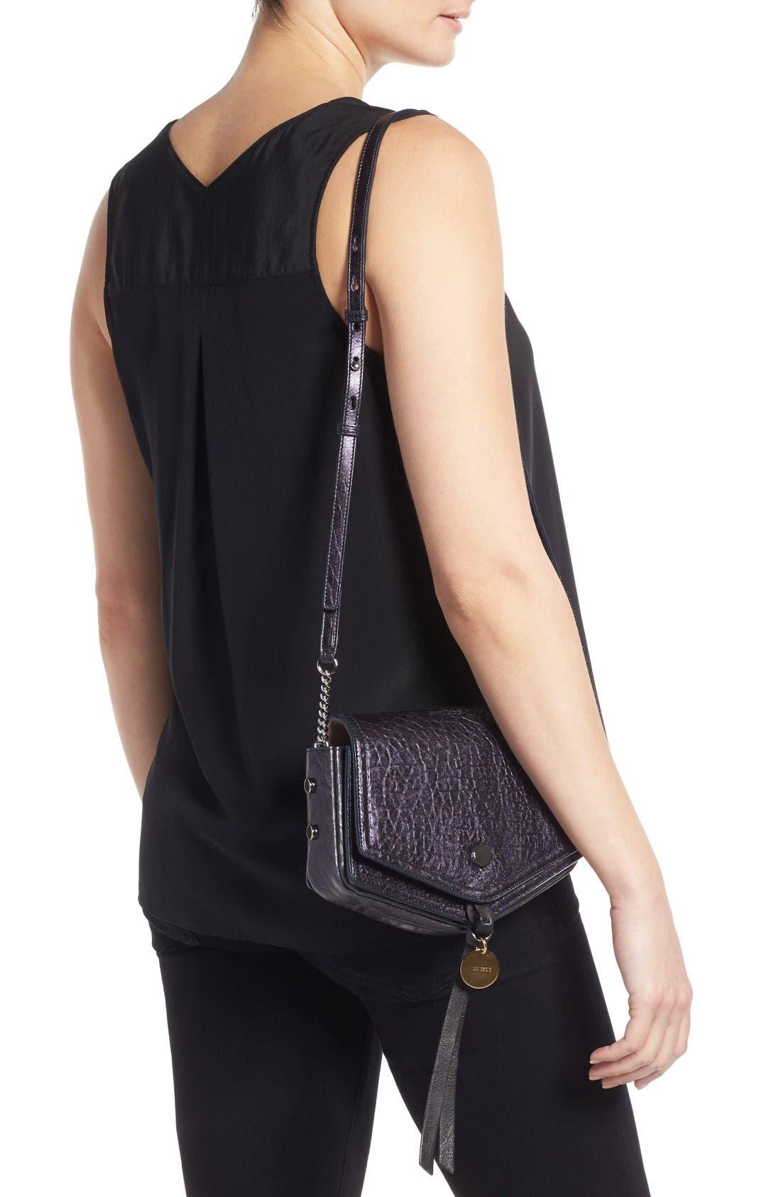 Arrow Metallic Grained Leather Shoulder Bag,                             Alternate thumbnail 3, color,                             Navy