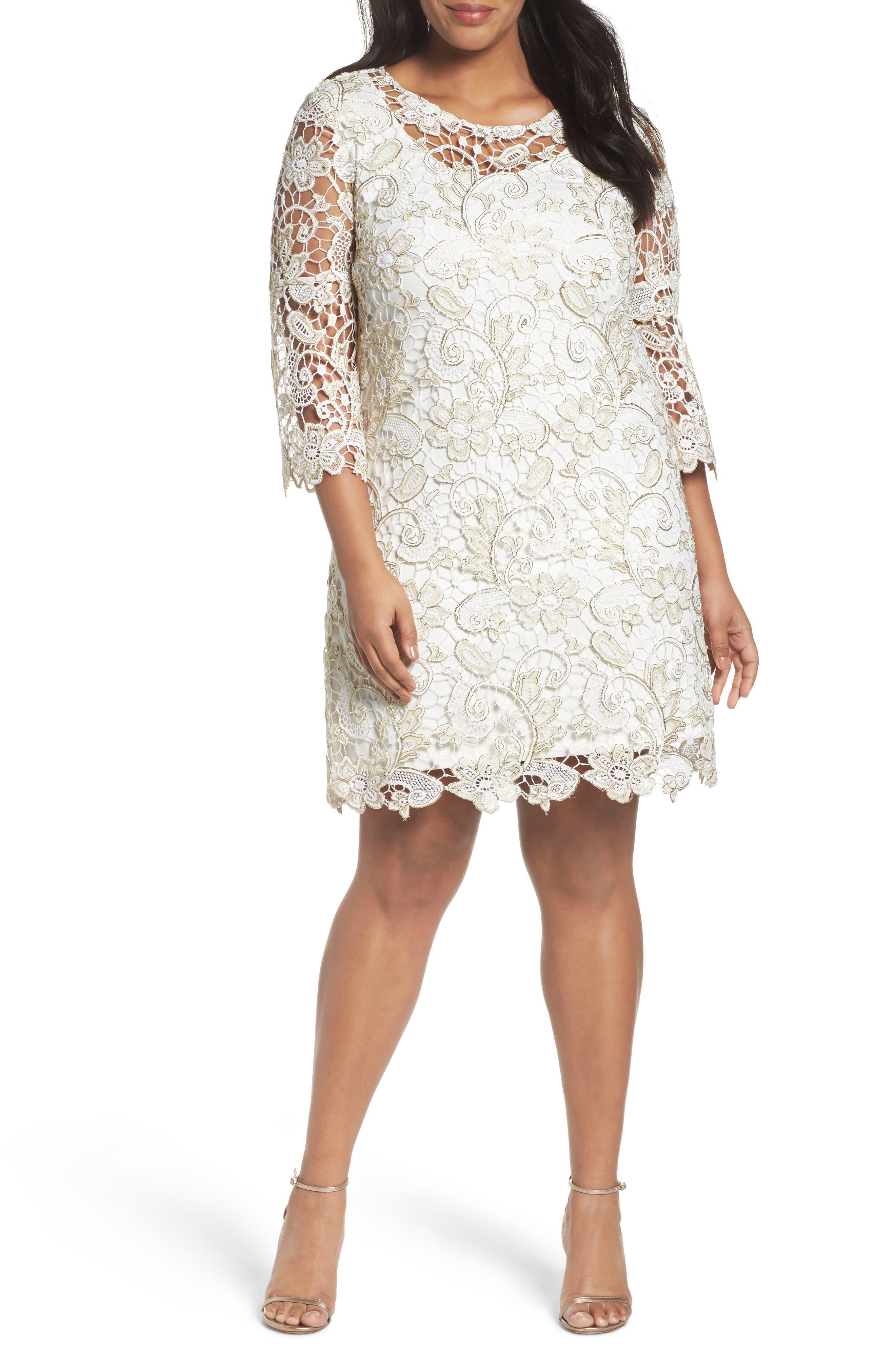 Marina Bell Sleeve Lace Shift Dress (Plus Size)