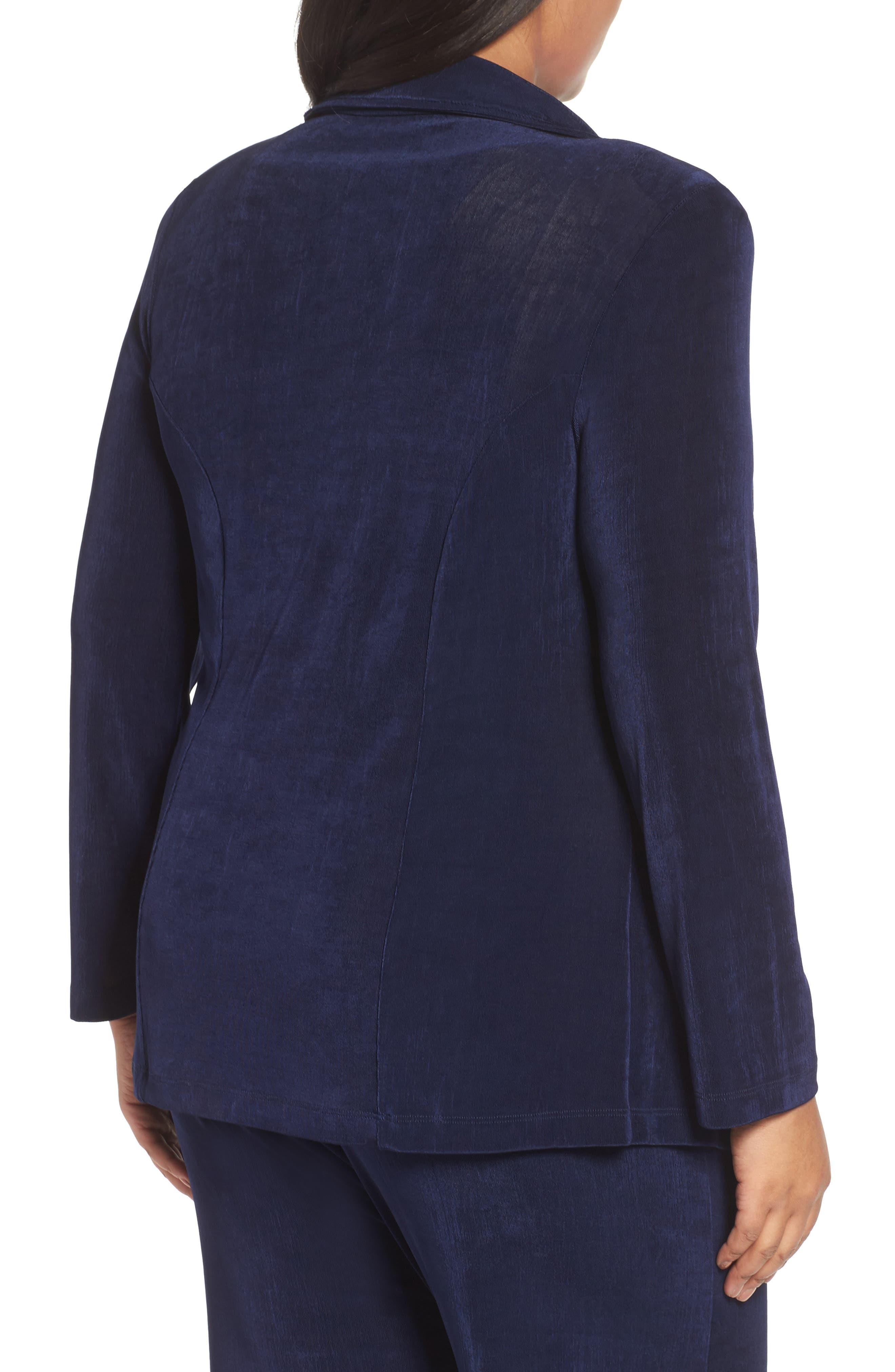 One-Button Stretch Knit Blazer,                             Alternate thumbnail 2, color,                             Navy