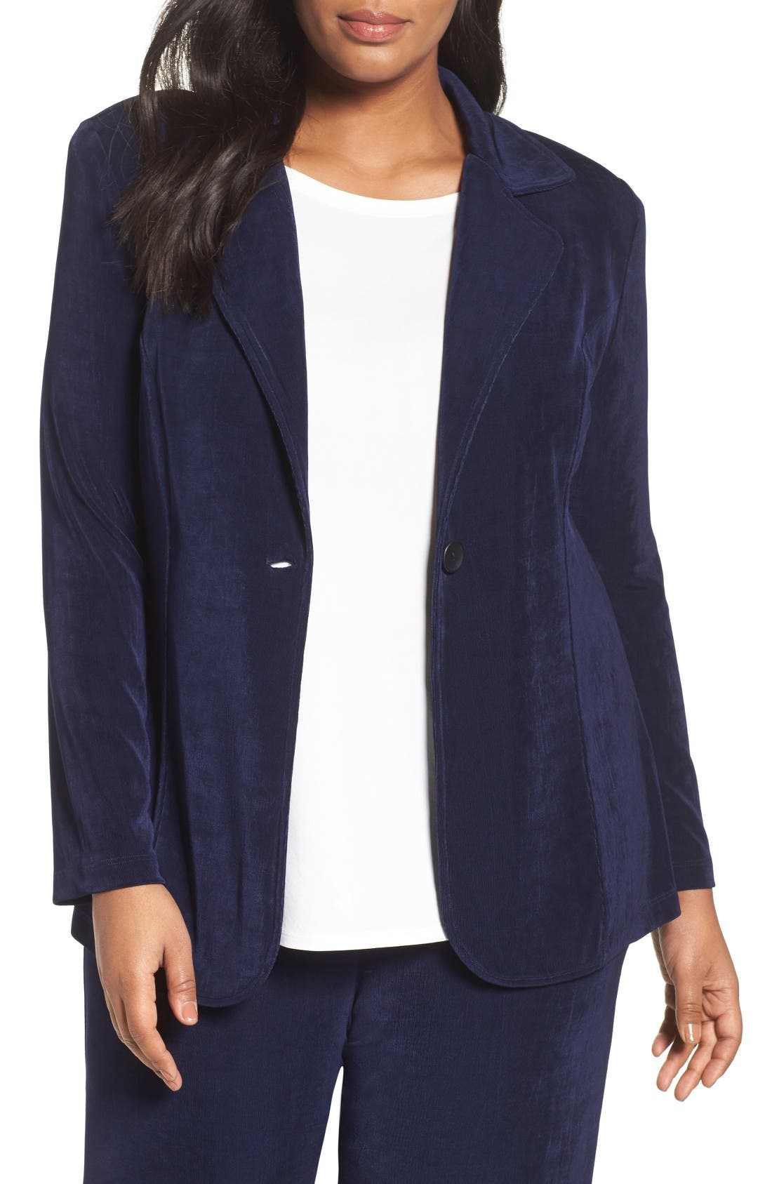 One-Button Stretch Knit Blazer,                             Main thumbnail 1, color,                             Navy