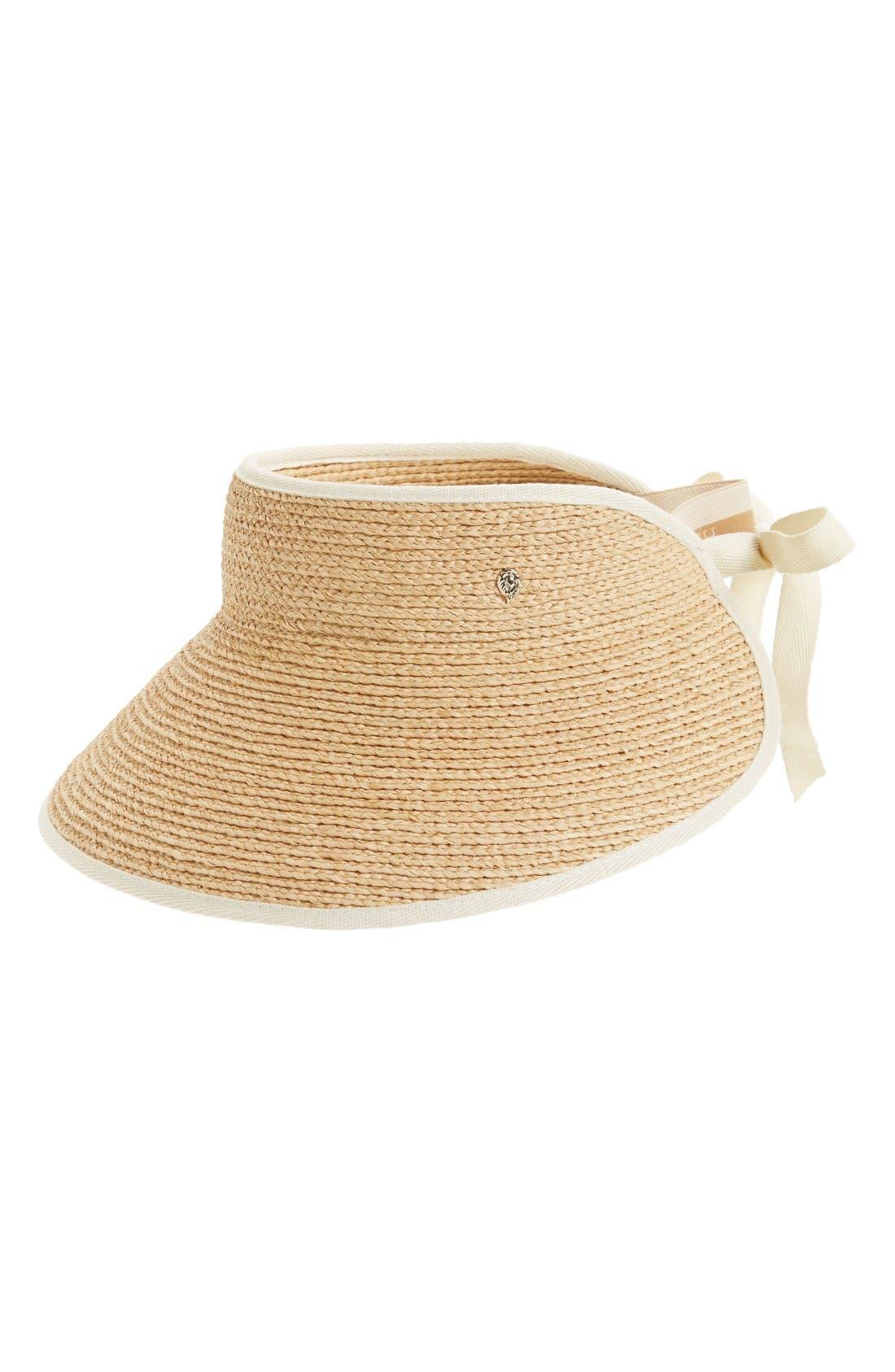 'Mita' Packable Raffia Visor,                         Main,                         color, Natural Sand