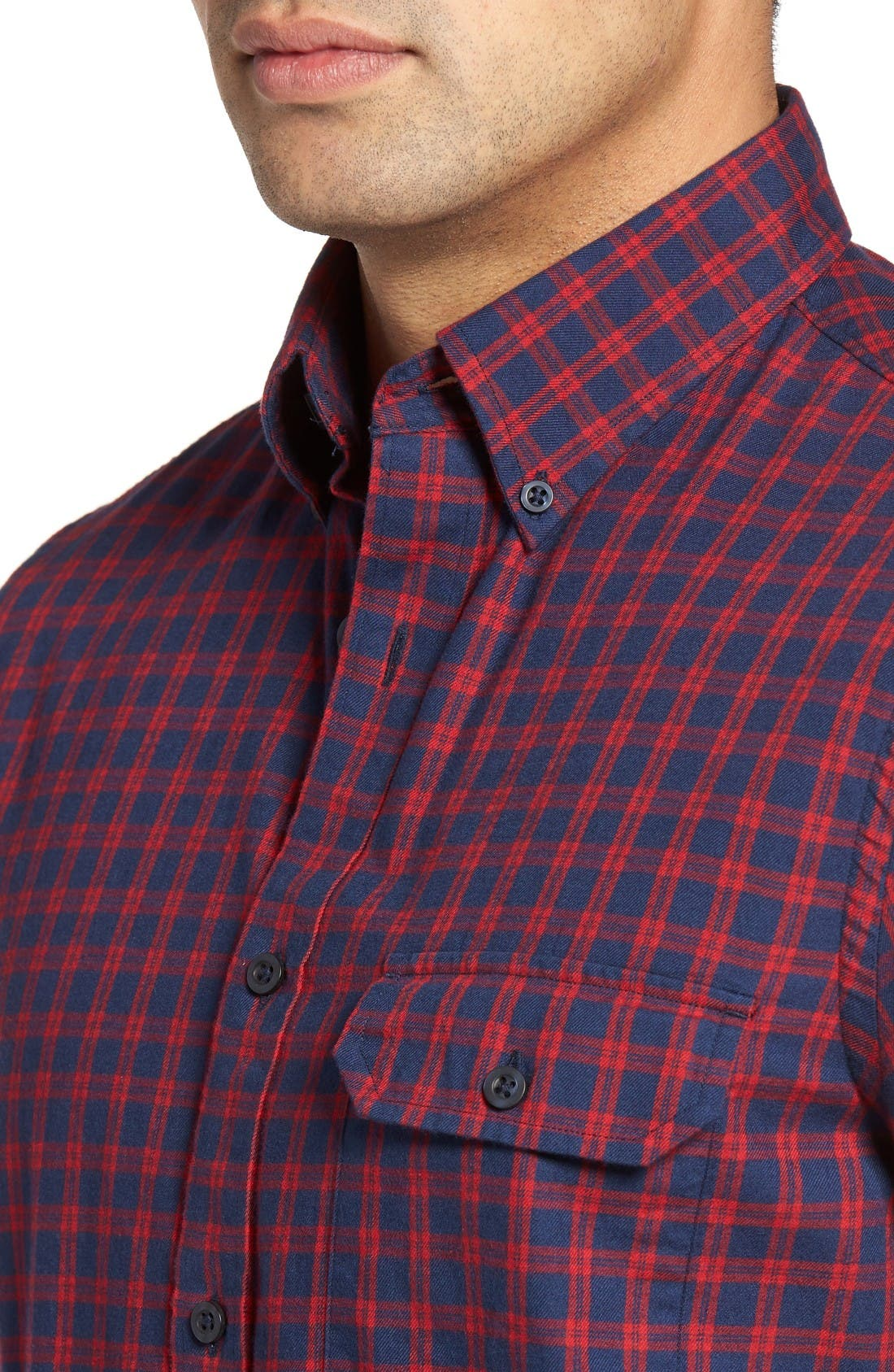 Alternate Image 4  - Nordstrom Men's Shop Classic Regular Fit Plaid Flannel Sport Shirt (Regular & Tall)