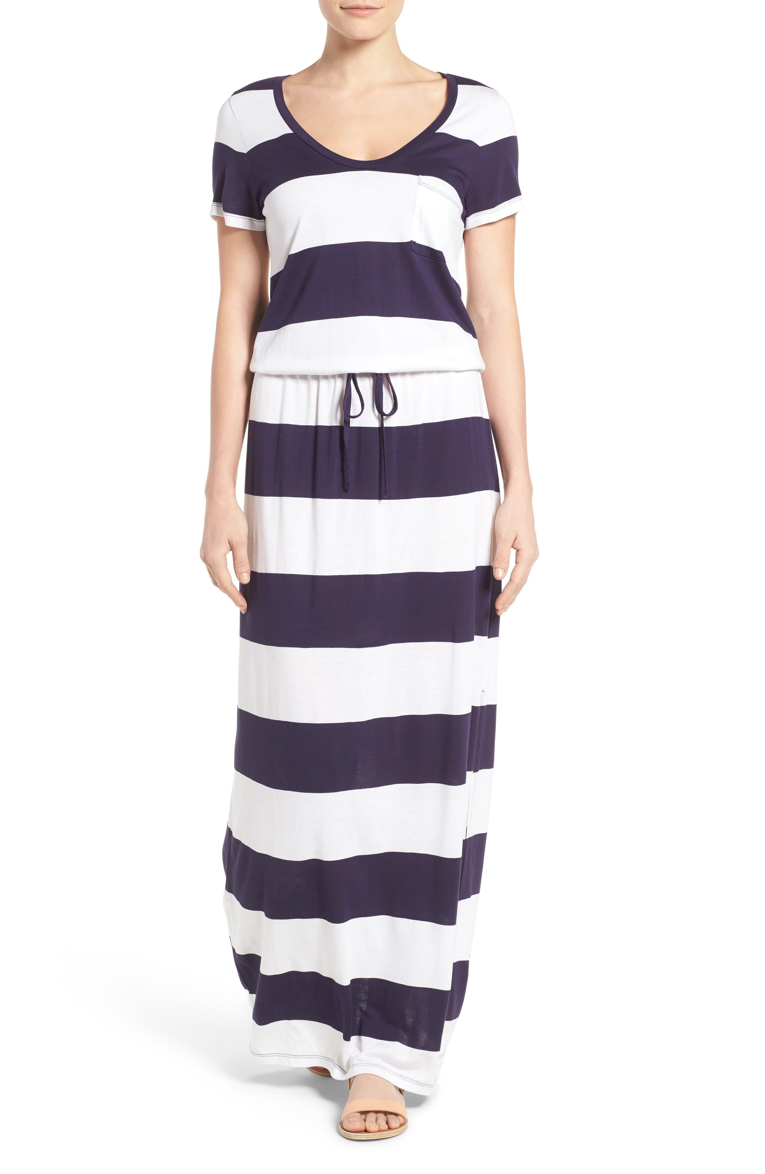 Drawstring V-Neck Jersey Maxi Dress,                         Main,                         color, Navy- White Buoy Stripe