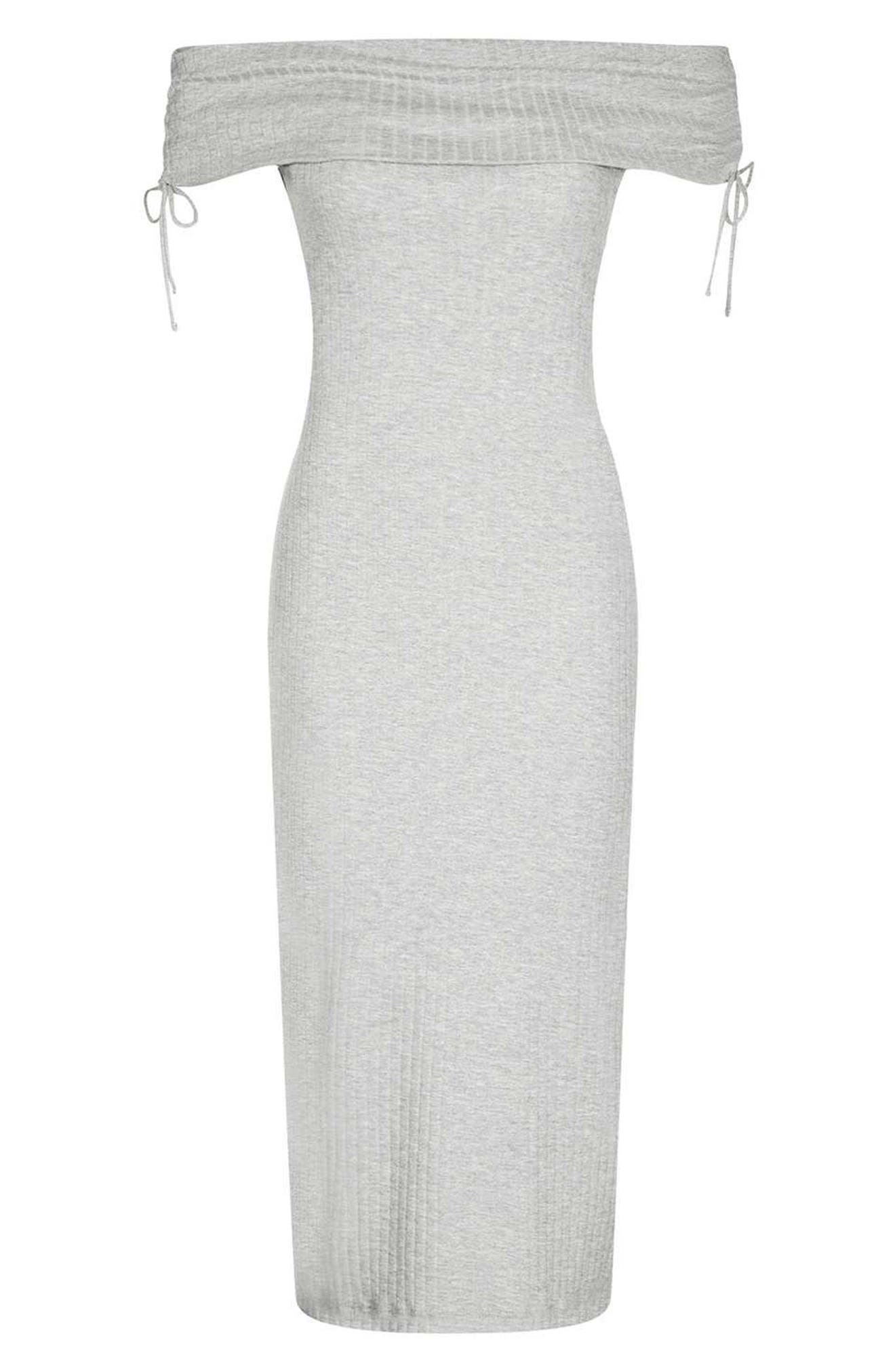 Alternate Image 3  - Topshop Bardot Ribbed Midi Dress