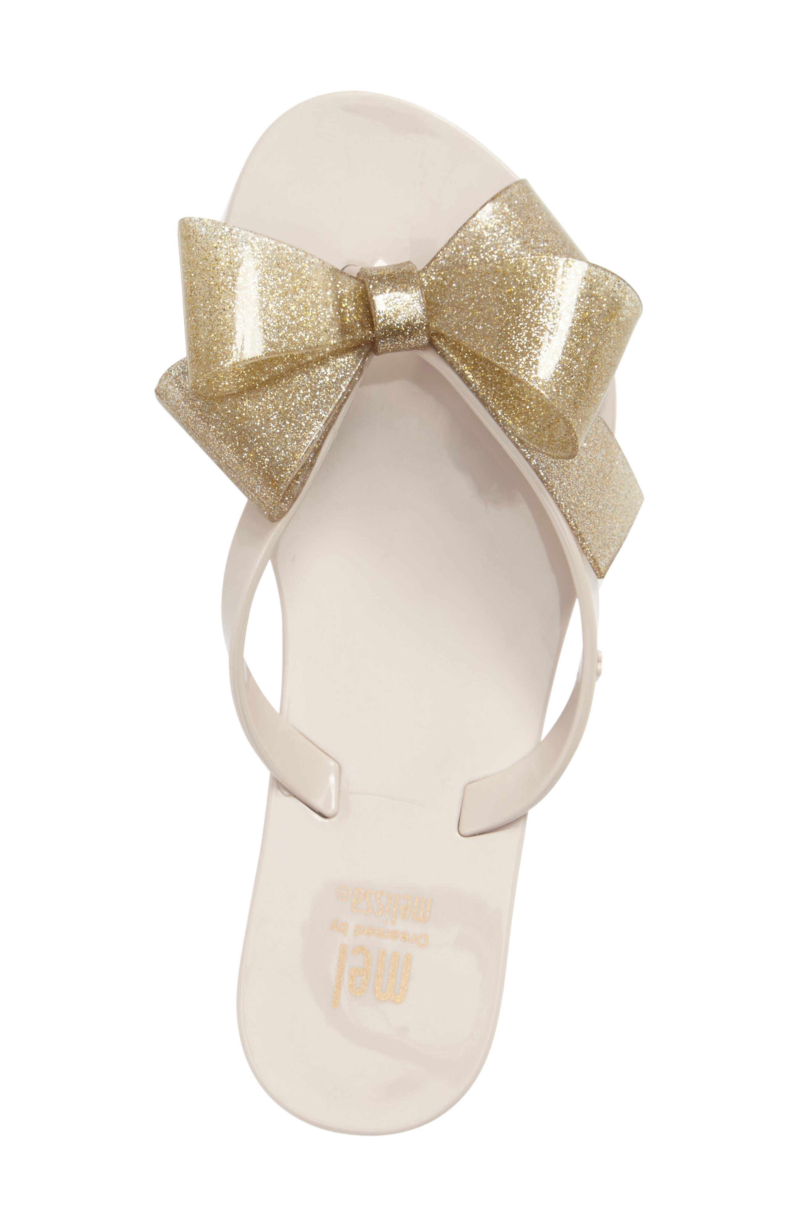 Harmonic Bow III Sandal,                             Alternate thumbnail 3, color,                             Beige Gold Glitter