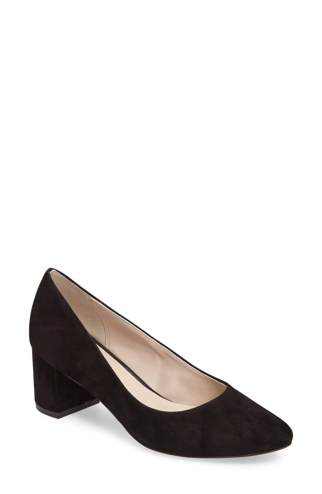 Justine Block Heel Pump,                         Main,                         color, Black Suede