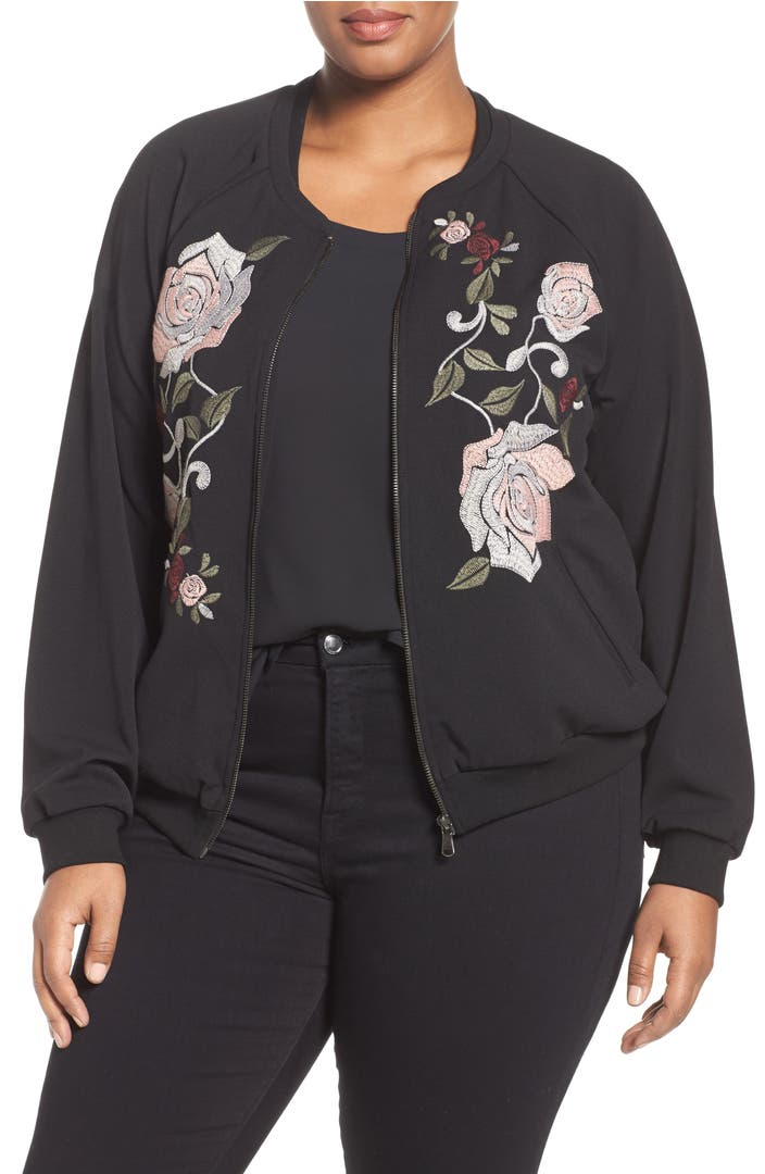 Democracy embroidered bomber jacket plus size nordstrom