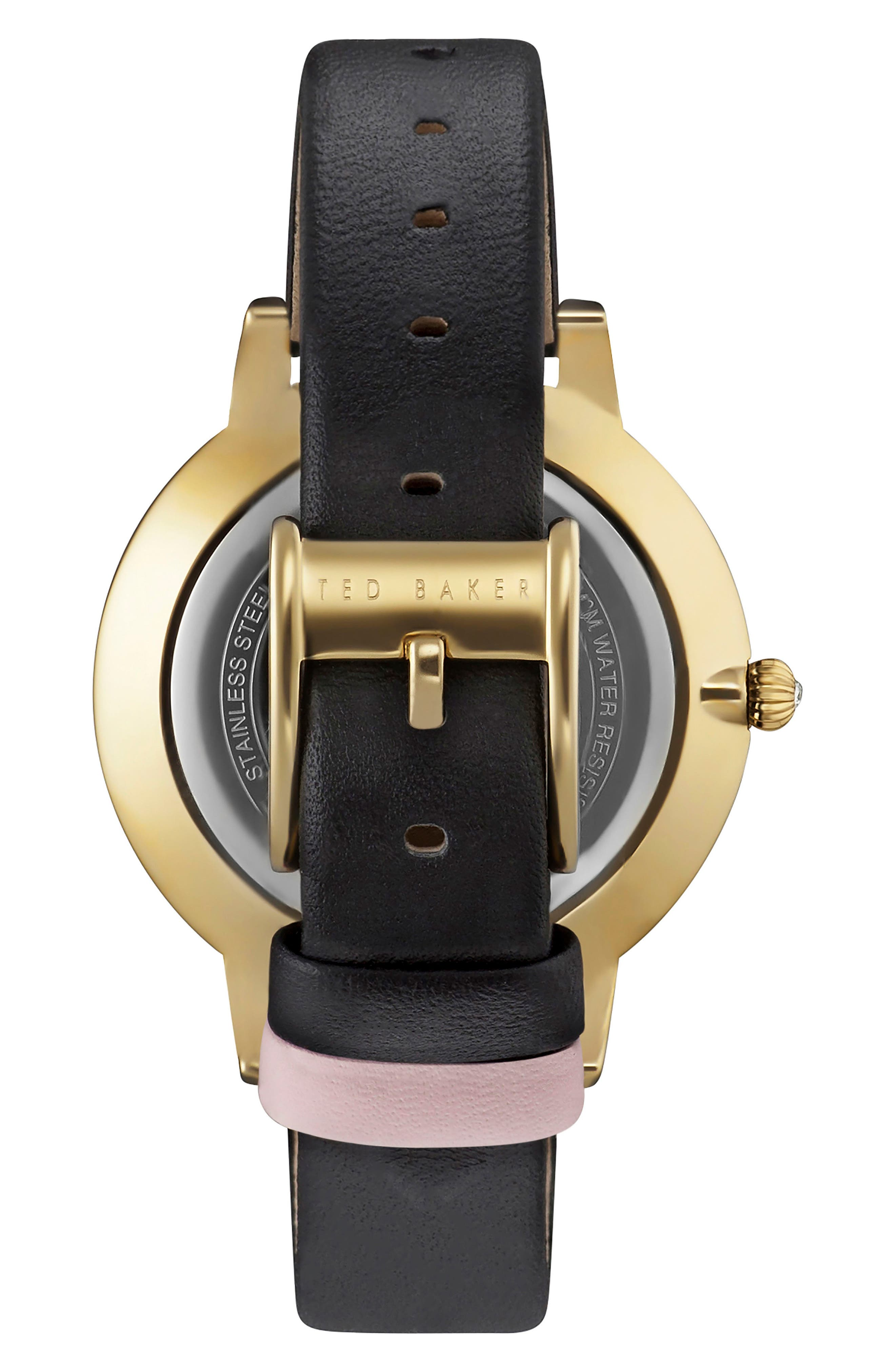 Kate Leather Strap Watch, 40mm,                             Alternate thumbnail 2, color,                             Black/ Pink