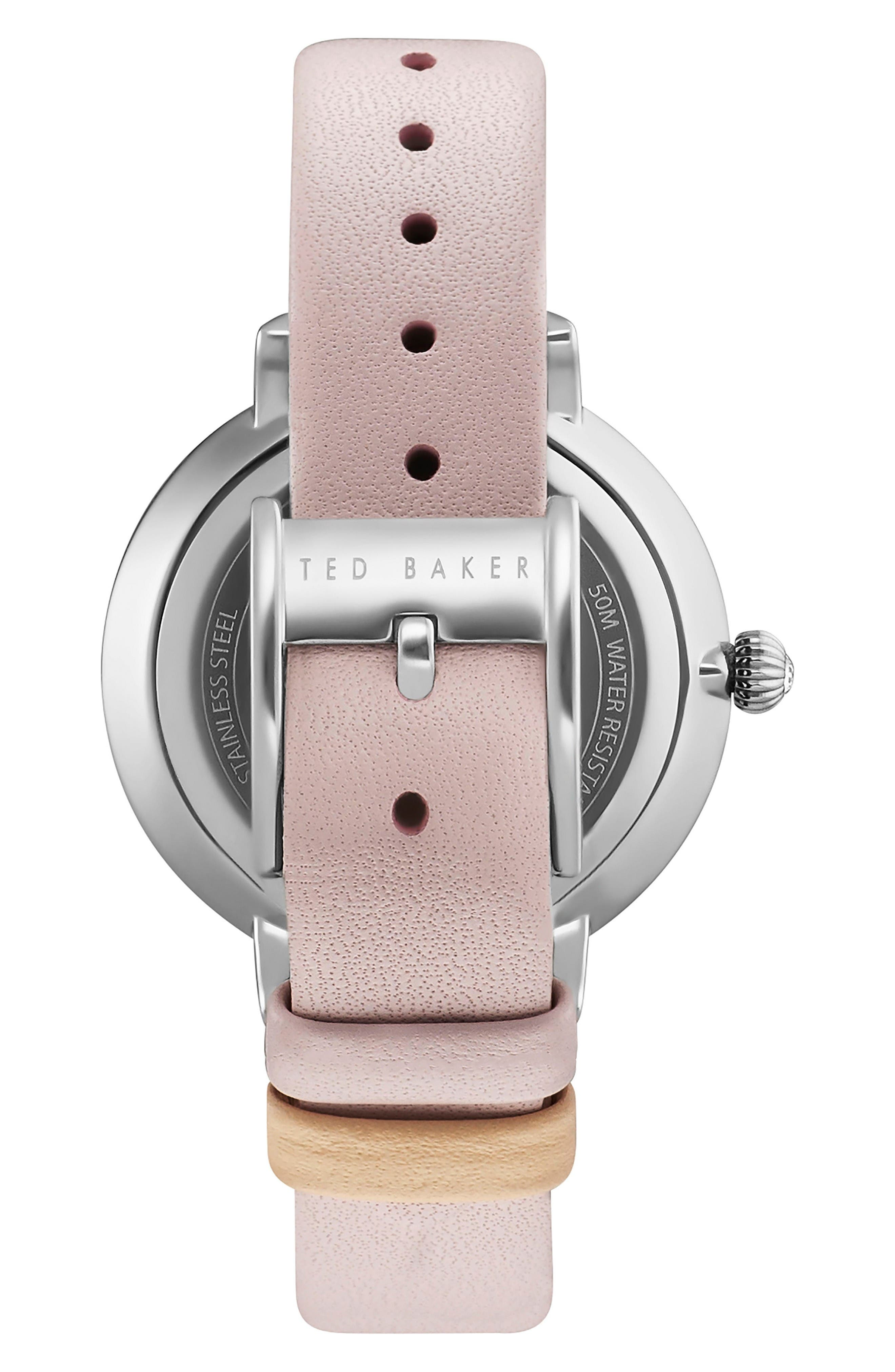 Isla Round Leather Strap Watch, 36mm,                             Alternate thumbnail 2, color,                             Pink/ Silver