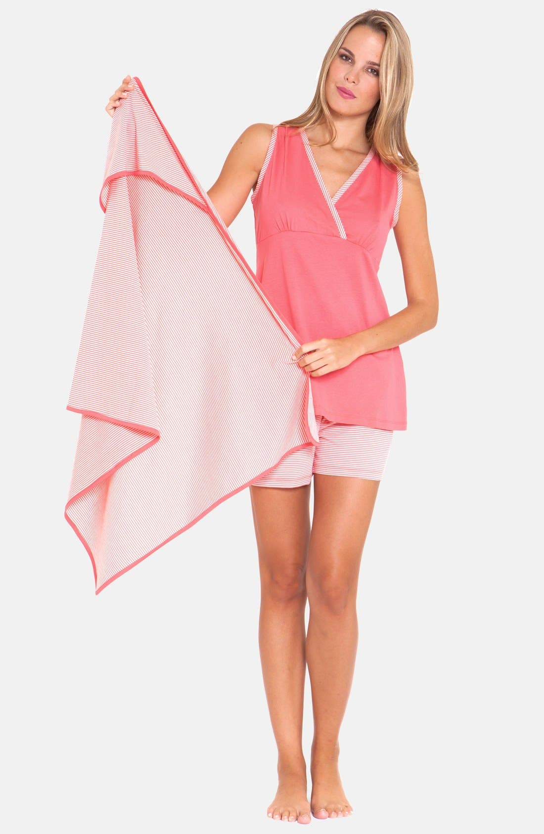 3-Piece Maternity Sleepwear Gift Set,                             Main thumbnail 1, color,                             Pink
