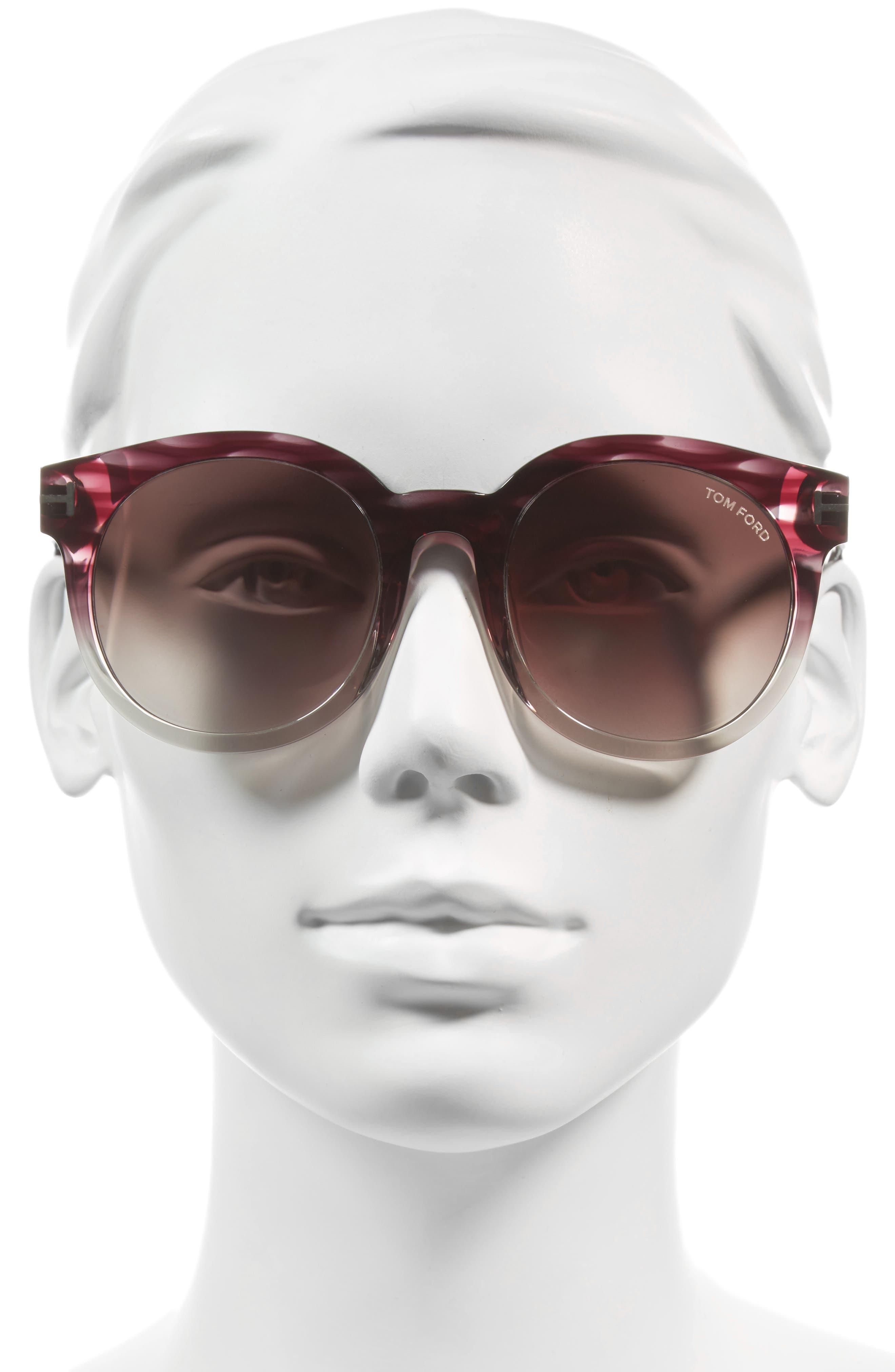 Janina 53mm Special Fit Round Sunglasses,                             Alternate thumbnail 2, color,                             Violet/ Gradient Bordeaux