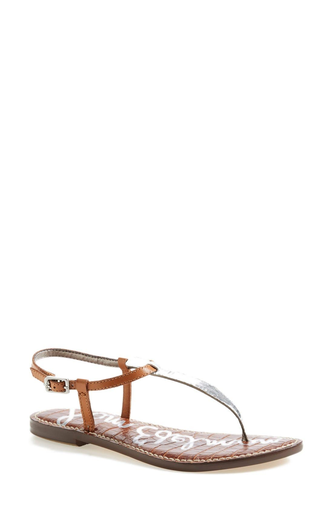 'Gigi' Leather Sandal,                             Main thumbnail 1, color,                             Silver/ Camel Leather