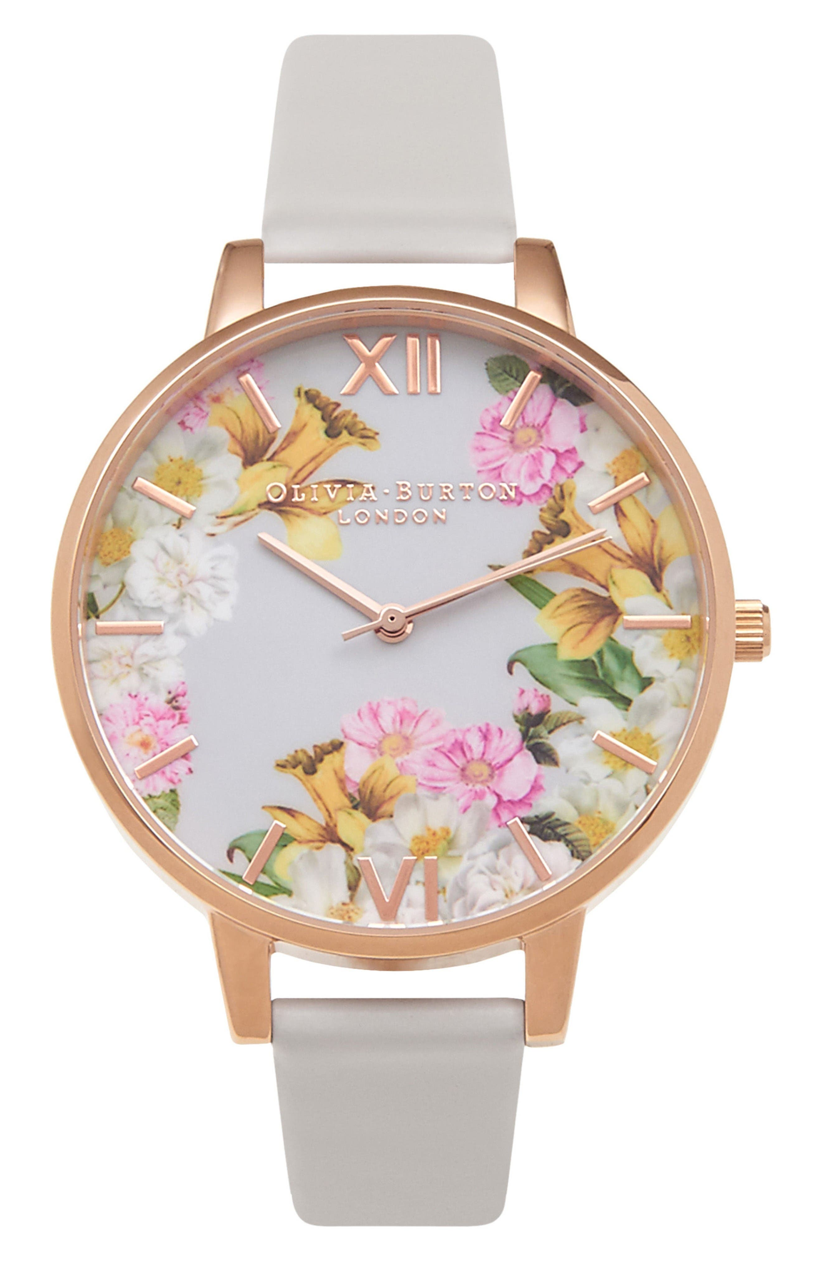 Main Image - Olivia Burton Flower Show Leather Strap Watch, 38mm