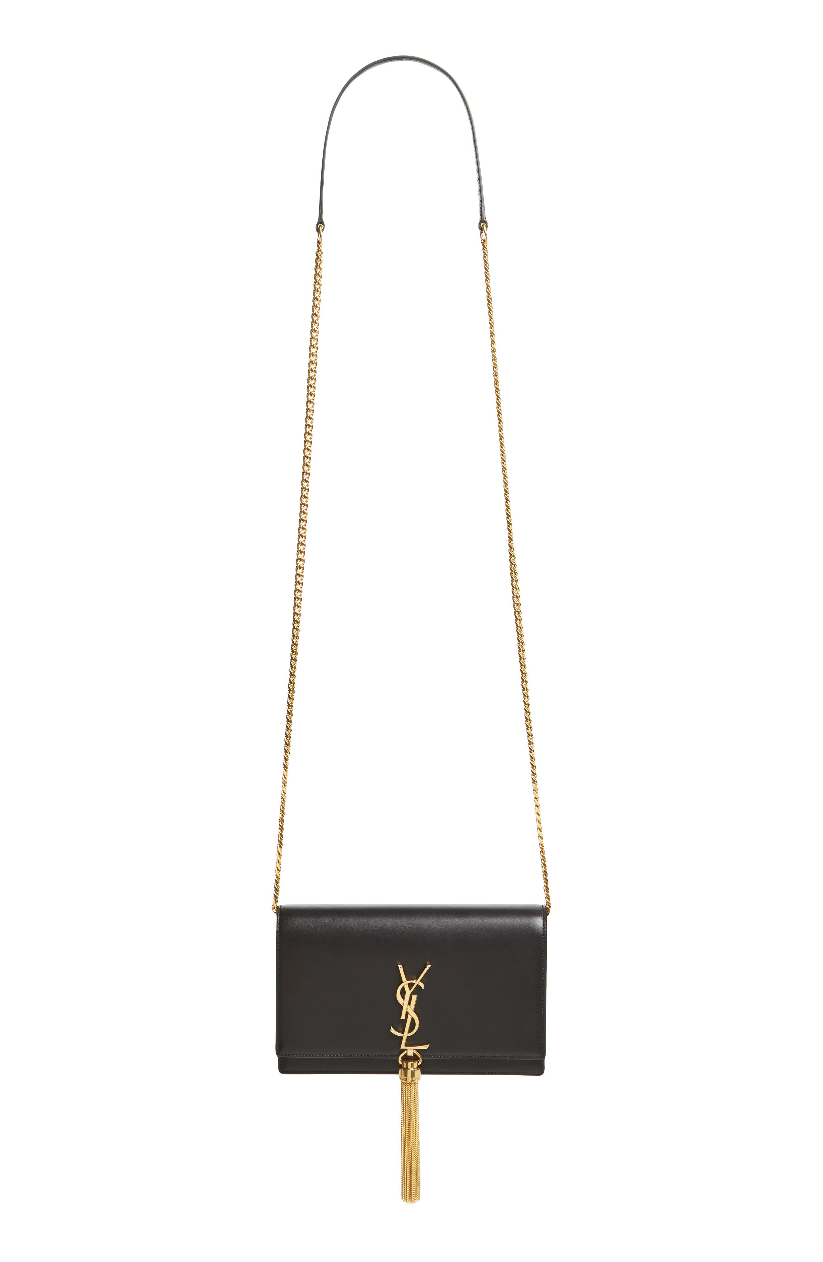 Alternate Image 1 Selected - Saint Laurent Small Monogram Calfskin Leather Wallet on a Chain