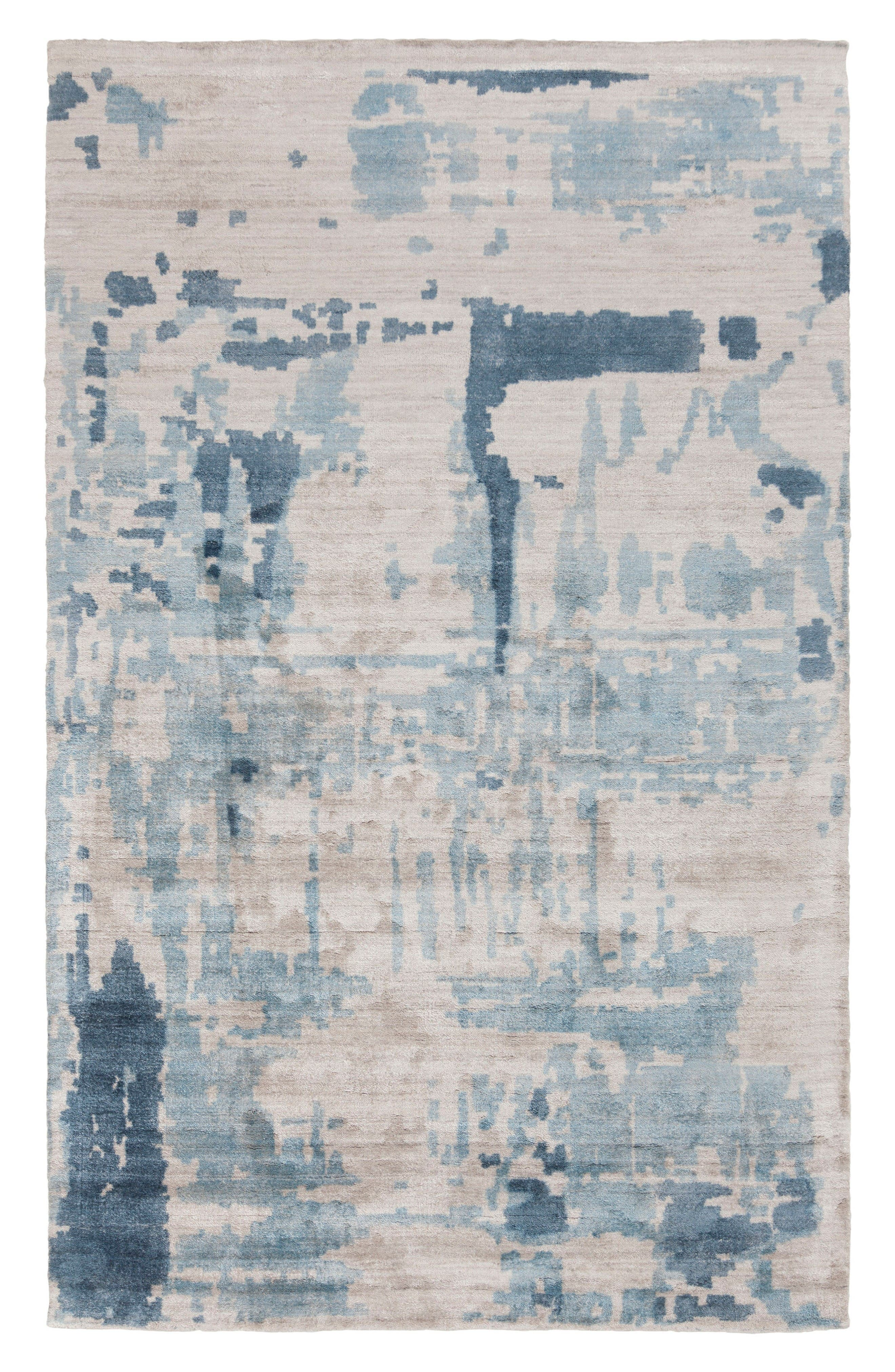 Watercolor Hand Loomed Rug,                         Main,                         color, Grey/ Blue