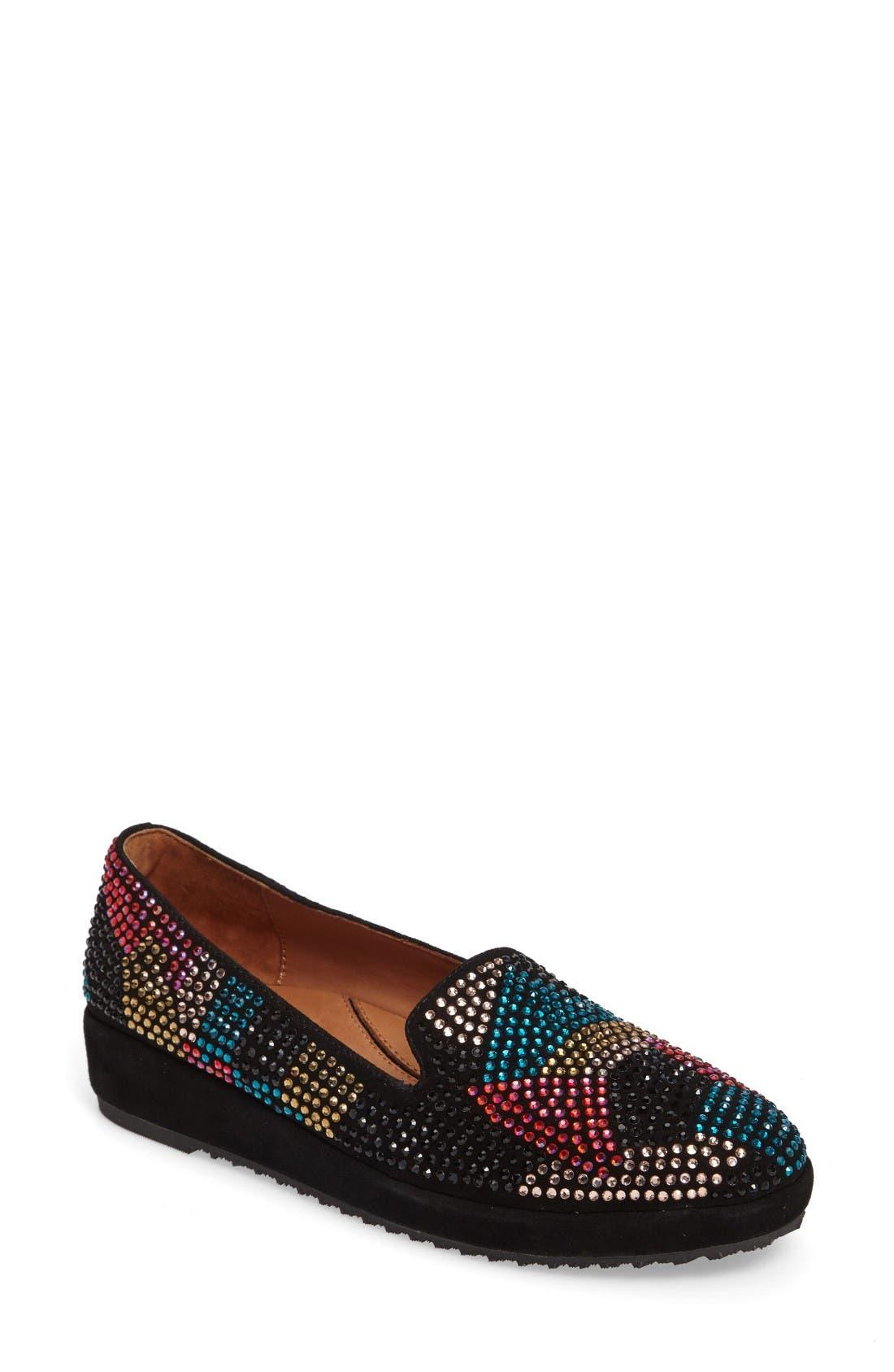 Correze Wedge Slip-On,                         Main,                         color, Black Multi Suede