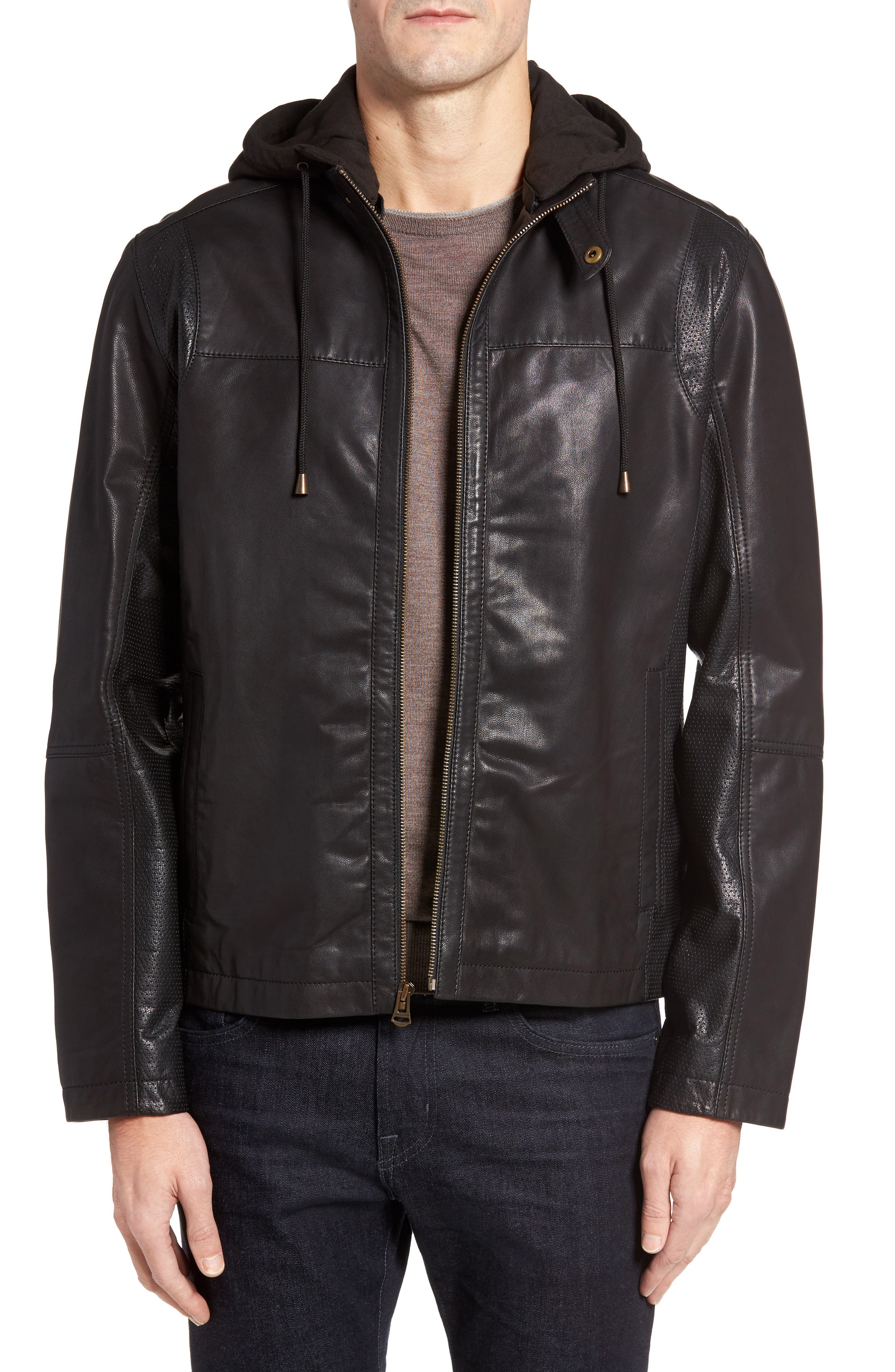 Leather Moto Jacket with Knit Hood,                         Main,                         color, Black