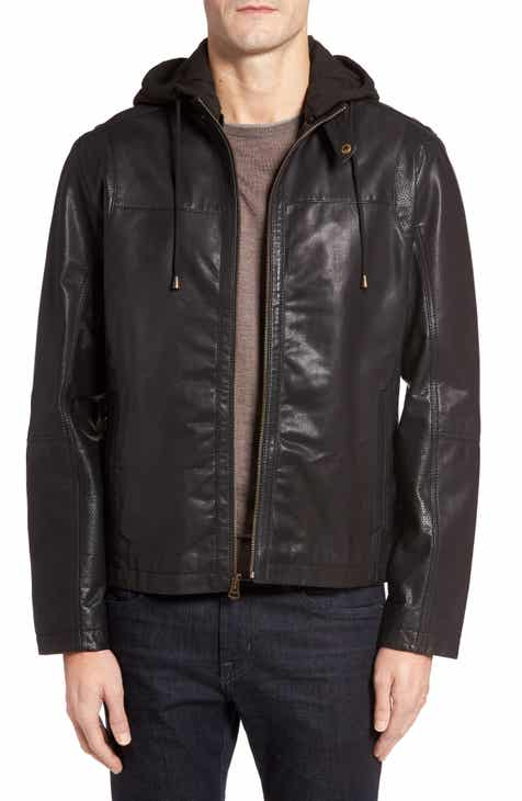 3e876e9208cde Cole Haan Leather Moto Jacket with Knit Hood