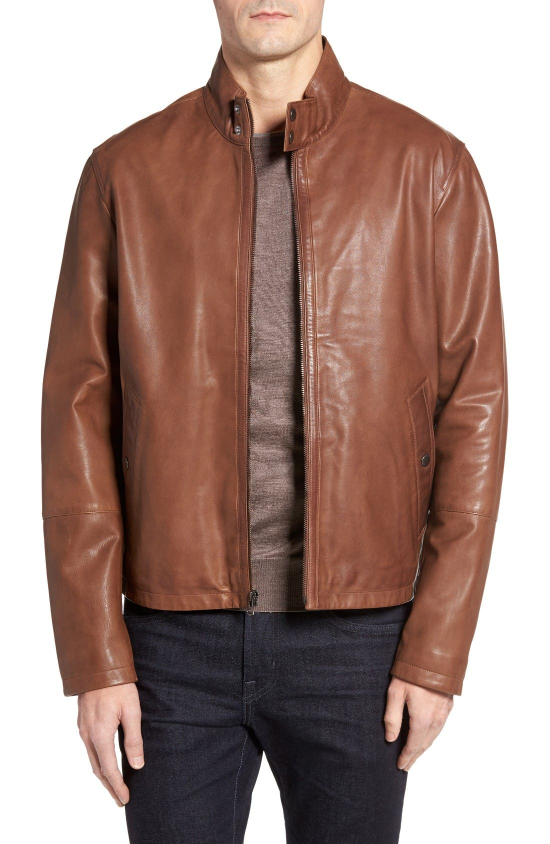 Lamb Leather Jacket,                         Main,                         color, British Tan
