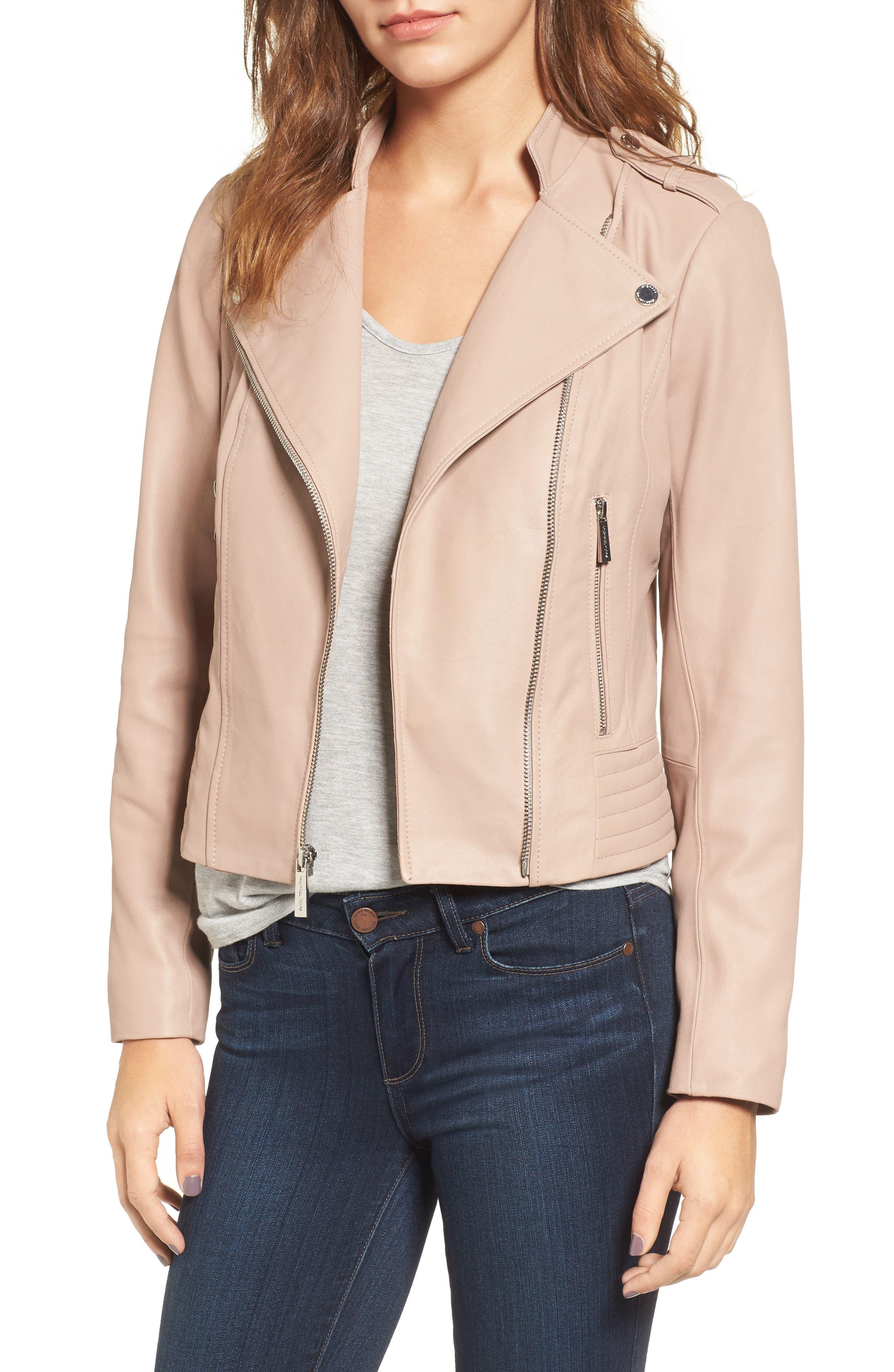 Alternate Image 1 Selected - MICHAEL Michael Kors Leather Moto Jacket