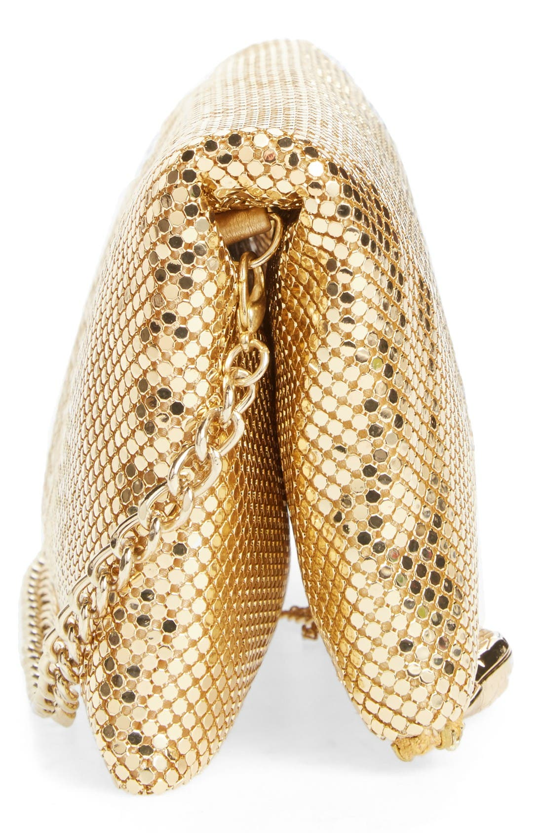 Mesh Foldover Crossbody Clutch,                             Alternate thumbnail 5, color,                             Gold