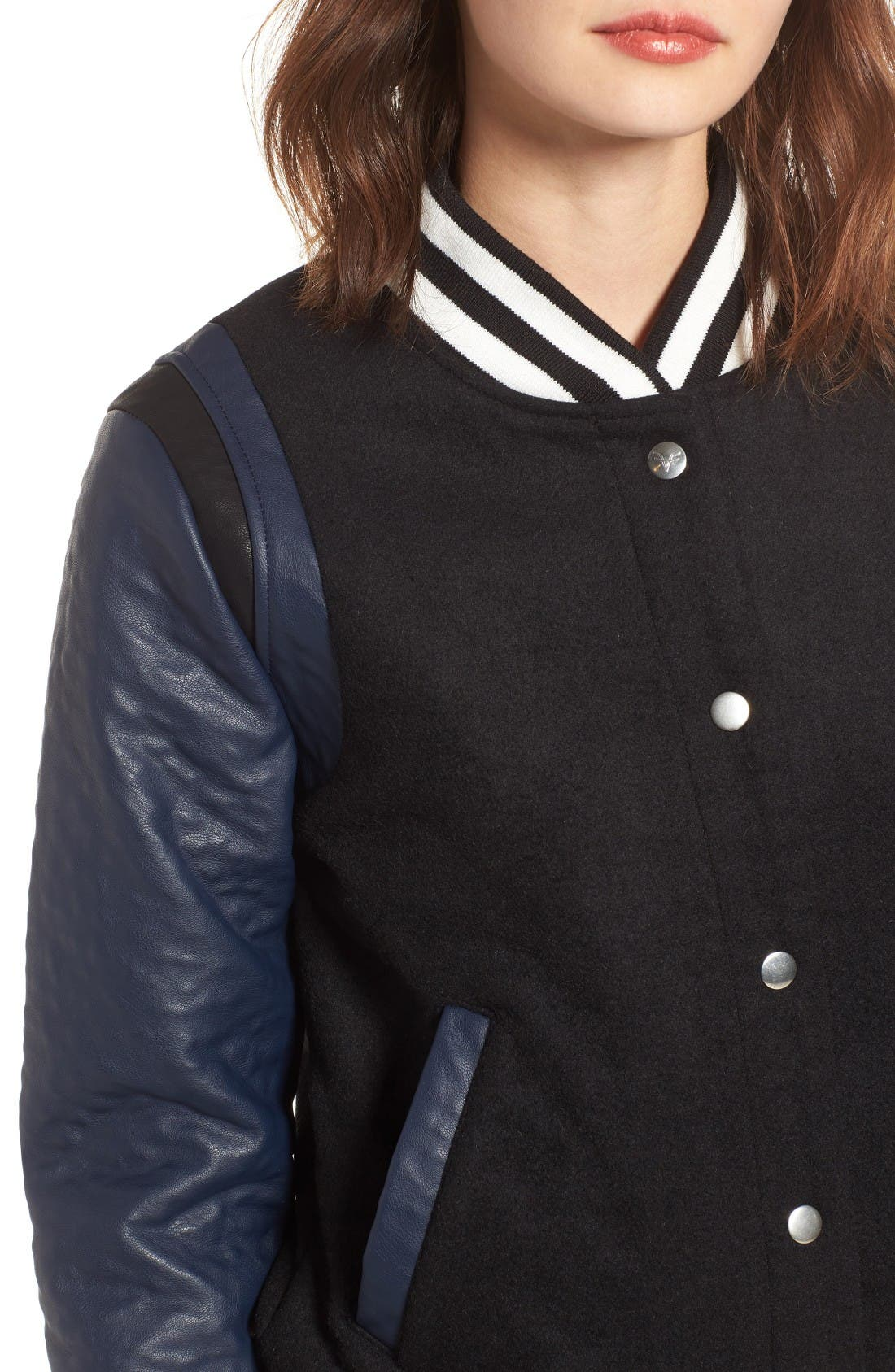 Alternate Image 4  - Vigoss Wool & Faux Leather Baseball Jacket