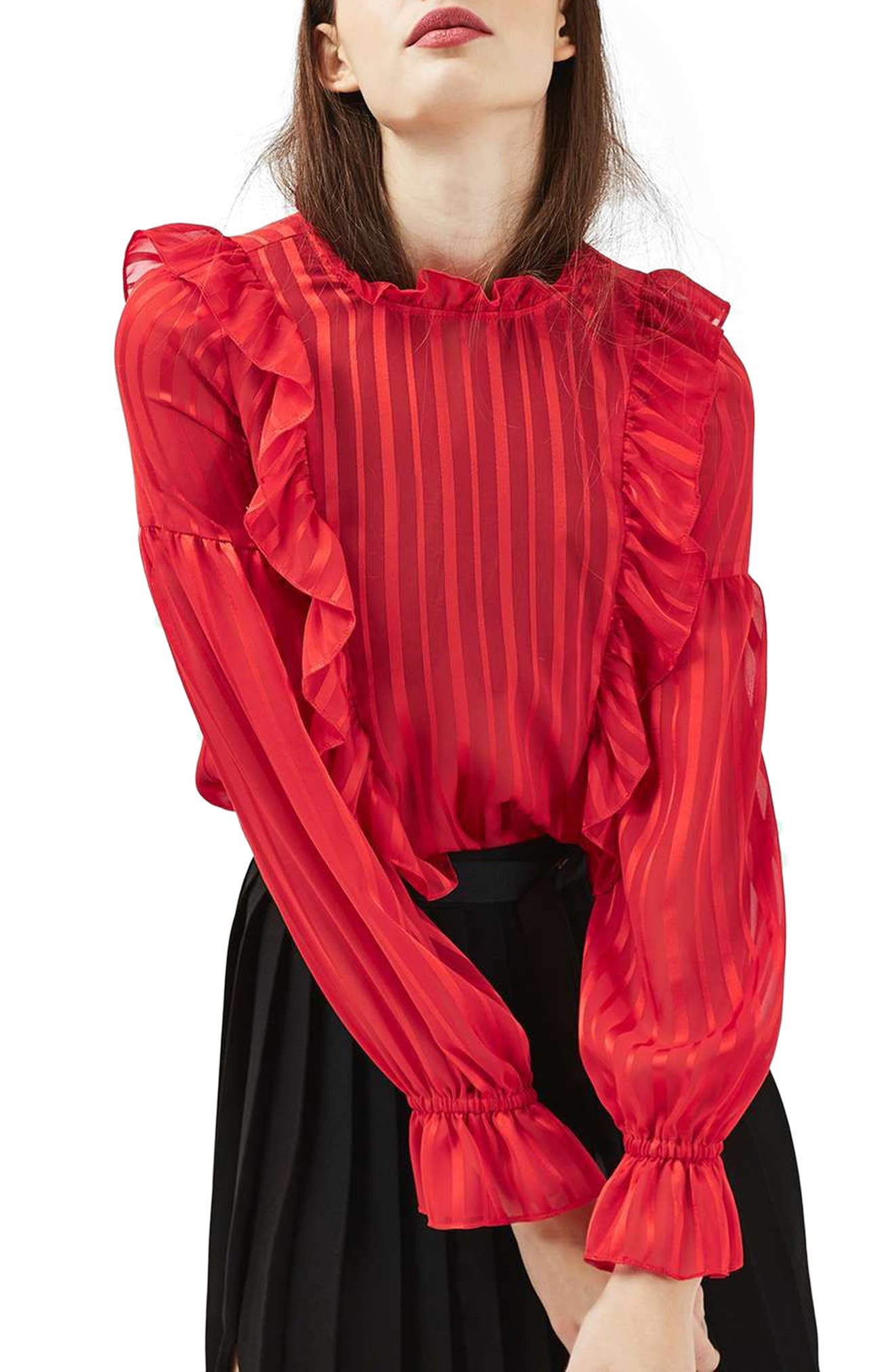 Main Image - Topshop Stripe Ruffle Blouse