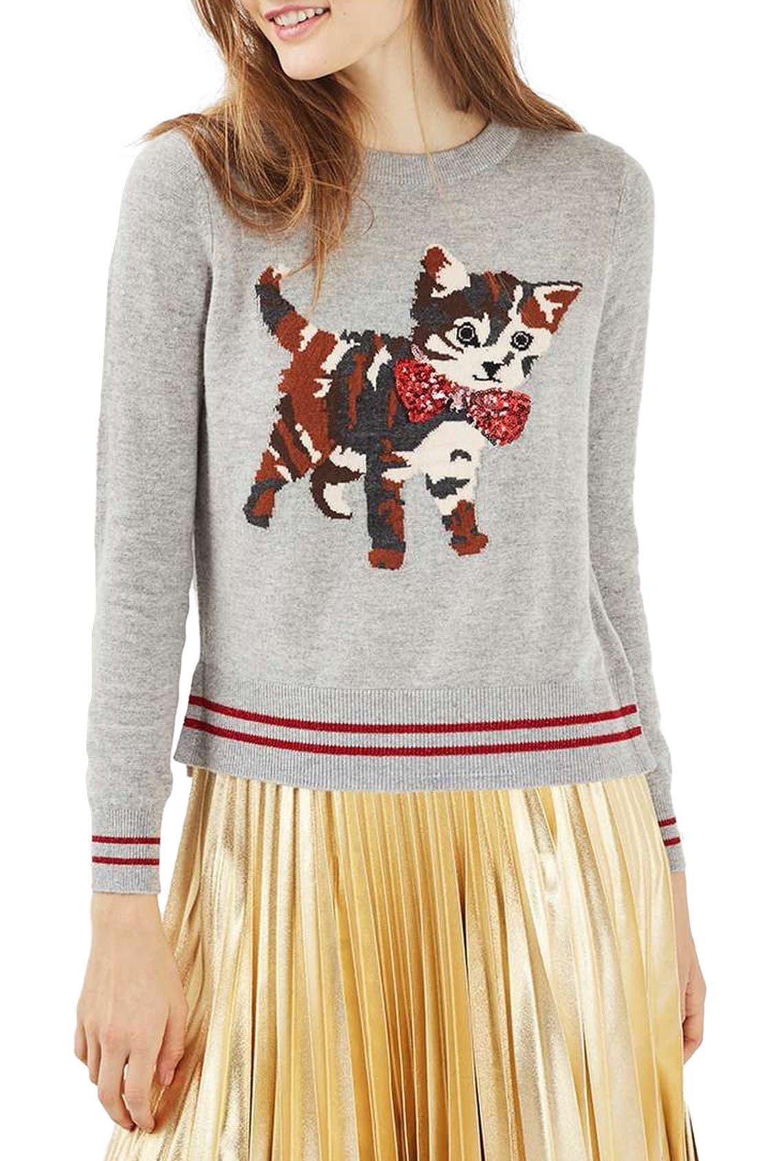Main Image - Topshop Sequin Embellished Cat Sweater (Petite)