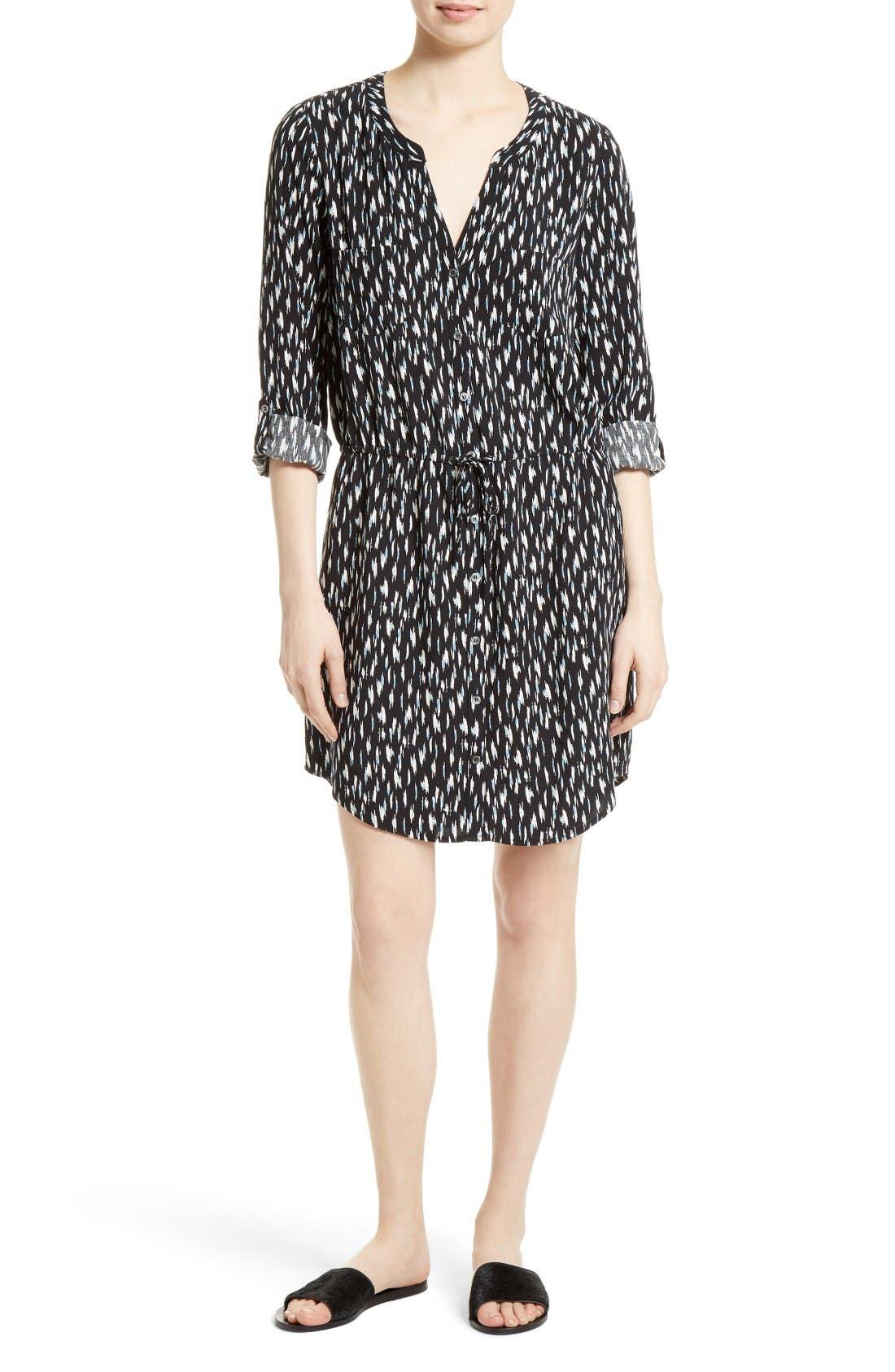 Joie Cassina Print Shirtdress,                         Main,                         color, Caviar