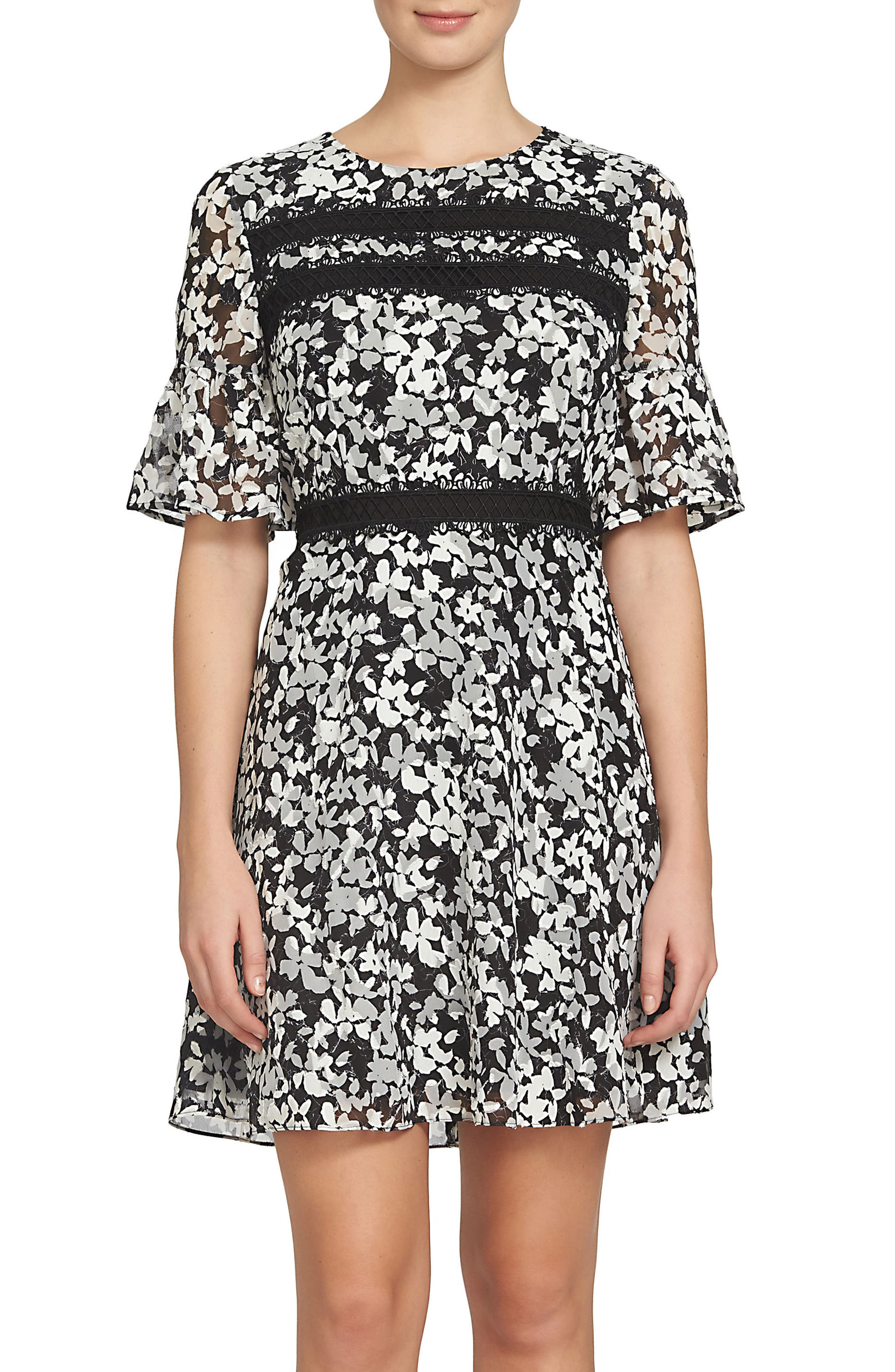 Alayna Floral Fit & Flare Dress,                         Main,                         color, Rich Black
