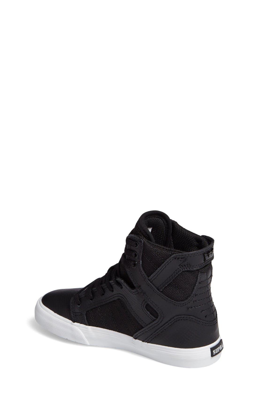 'Skytop' High Top Sneaker,                             Alternate thumbnail 2, color,                             Black/ White