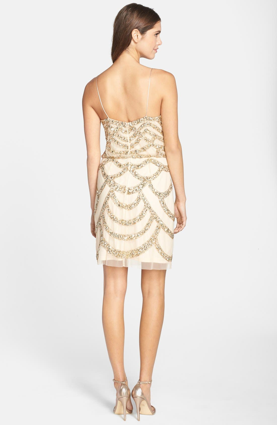 Alternate Image 2  - Aidan Mattox Embellished Mesh Blouson Dress
