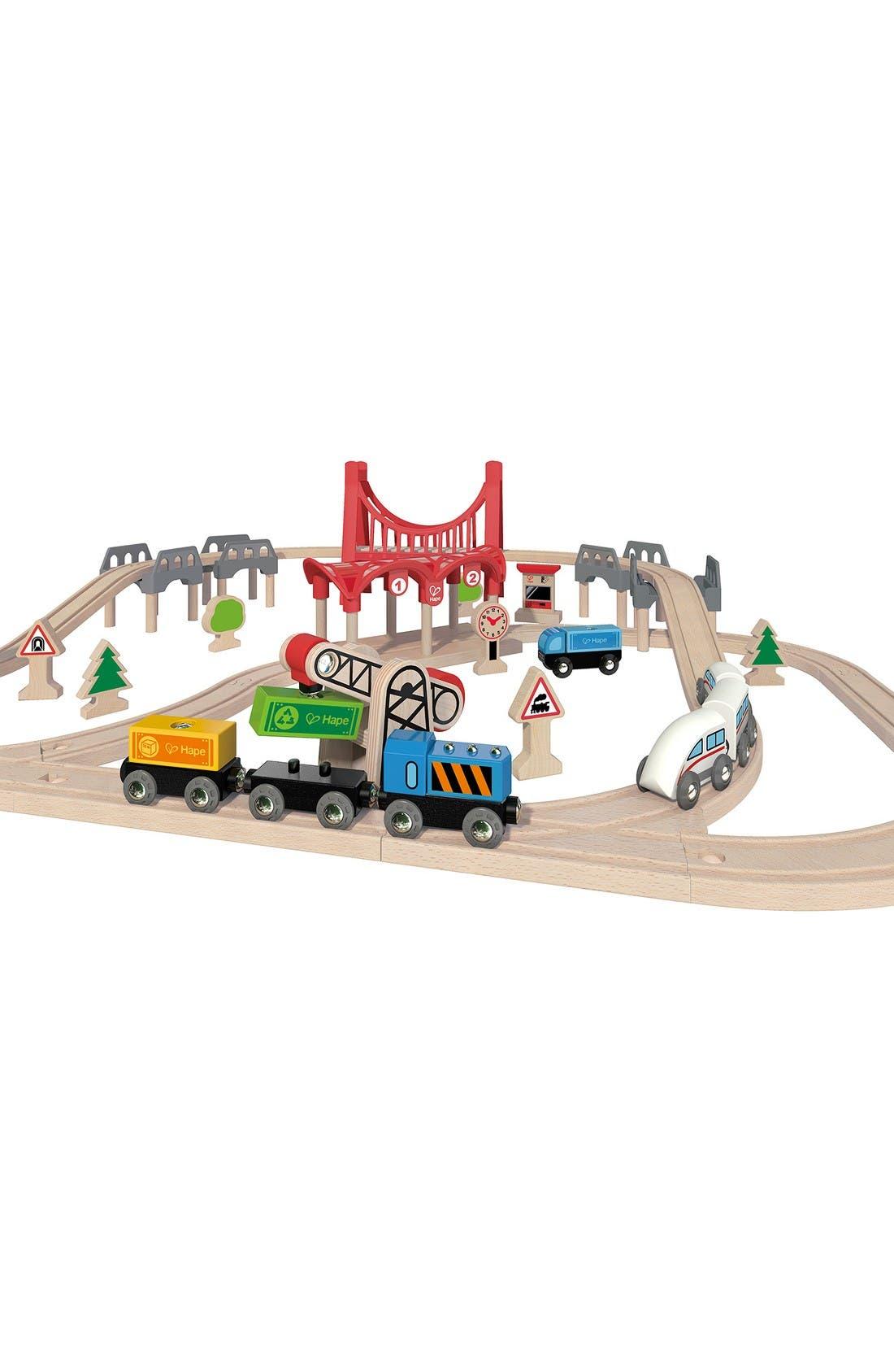 Double Loop Railway Wooden Train Set,                             Alternate thumbnail 3, color,                             Multi