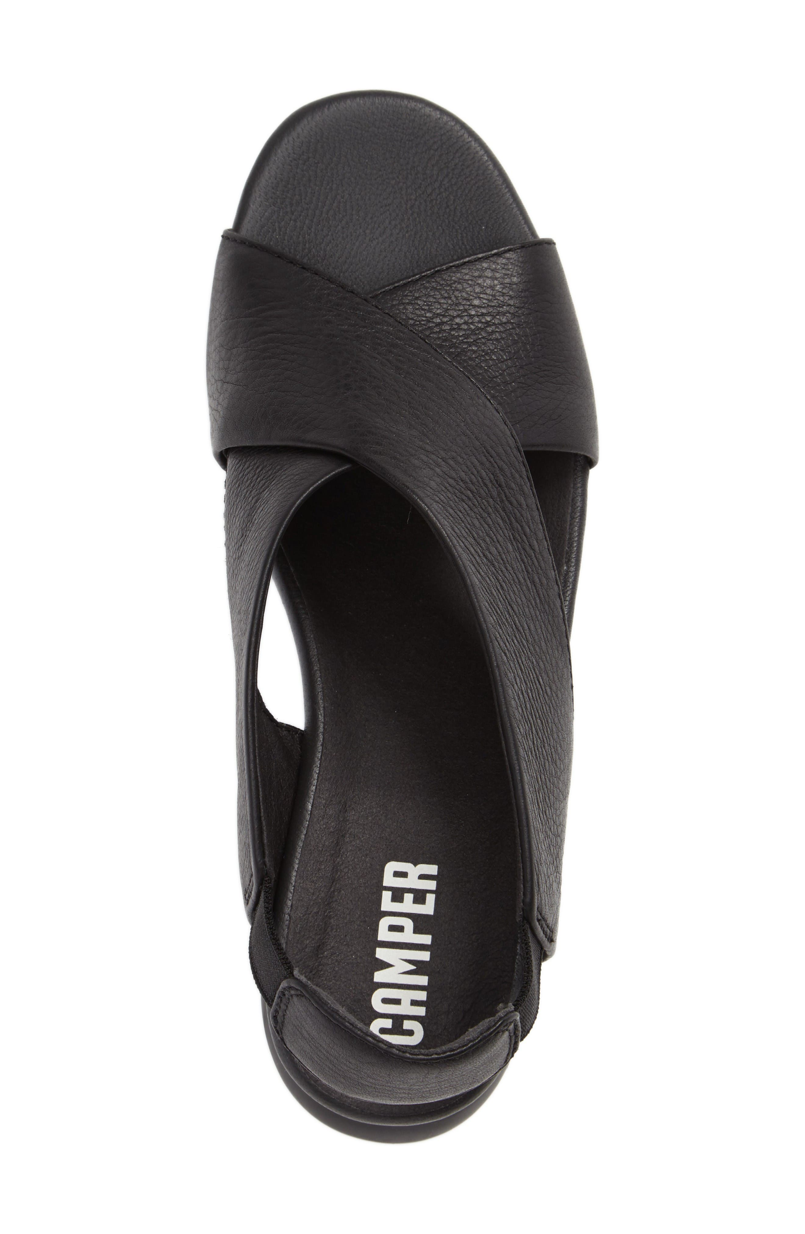 Balloon Slingback Wedge Sandal,                             Alternate thumbnail 3, color,                             Black Leather