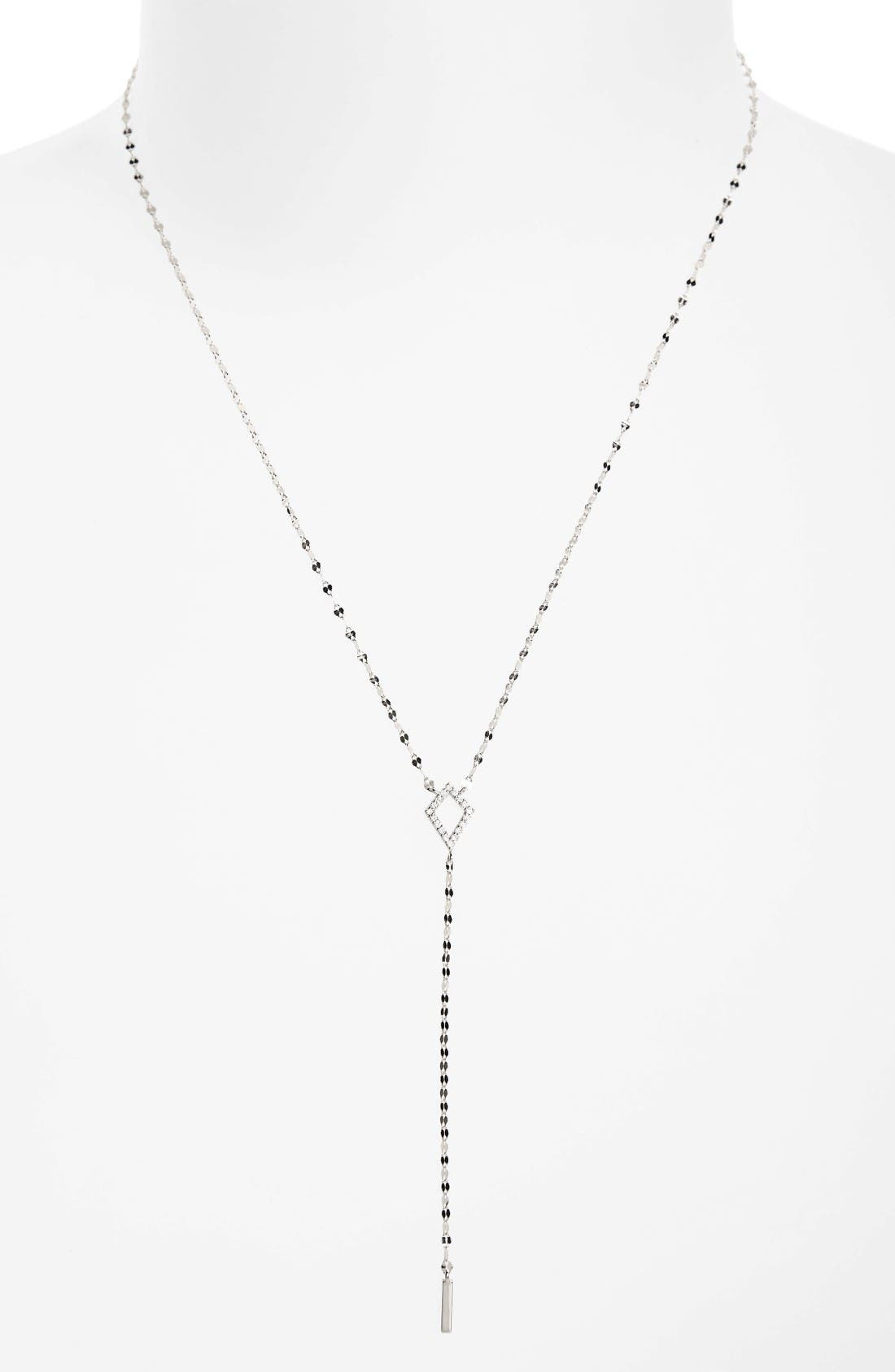Flawless Diamond Kite Y-Necklace,                             Main thumbnail 1, color,                             White Gold