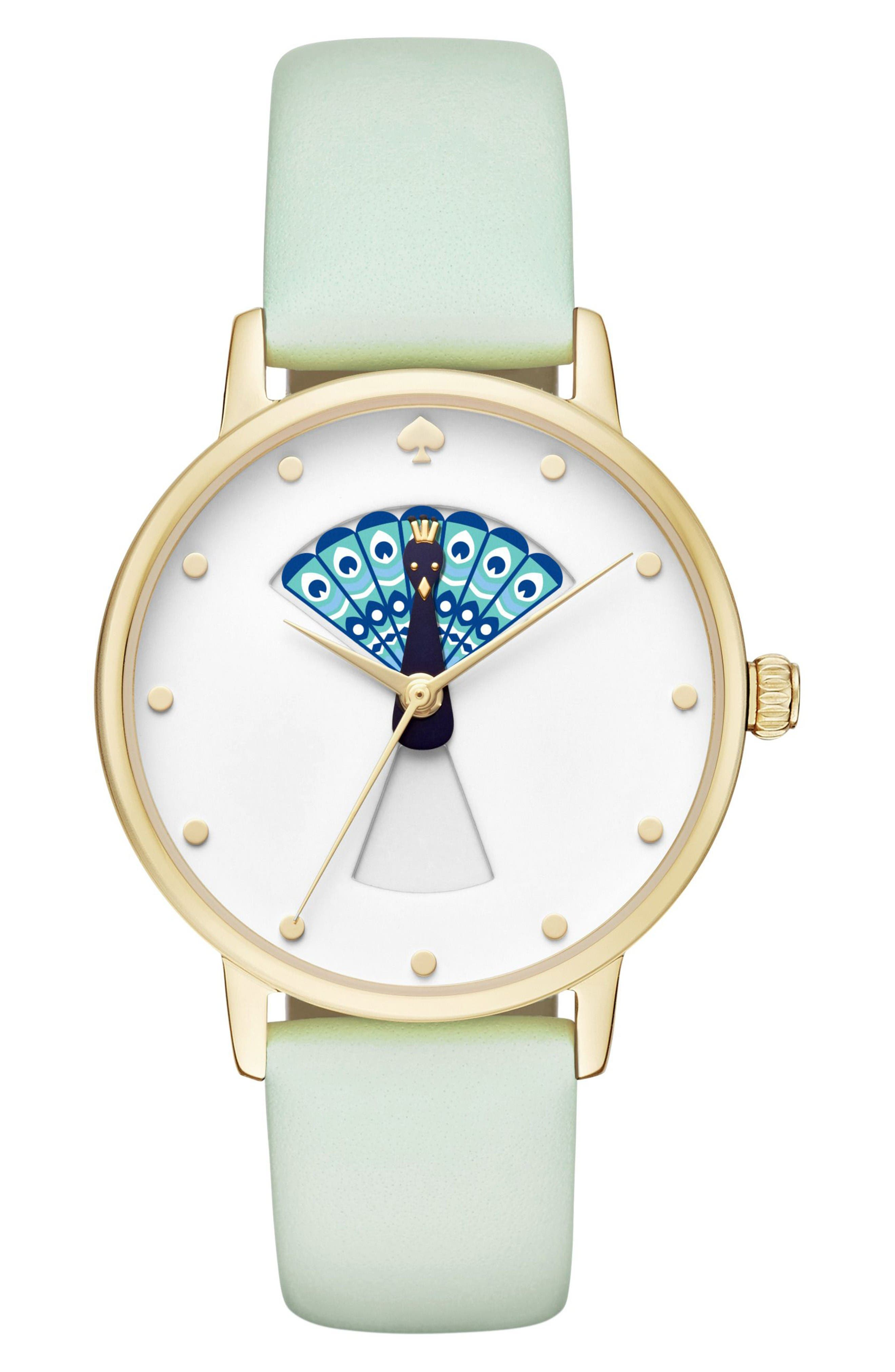 metro peacock leather strap watch, 34mm,                         Main,                         color, Mint Splash/ White/ Blue
