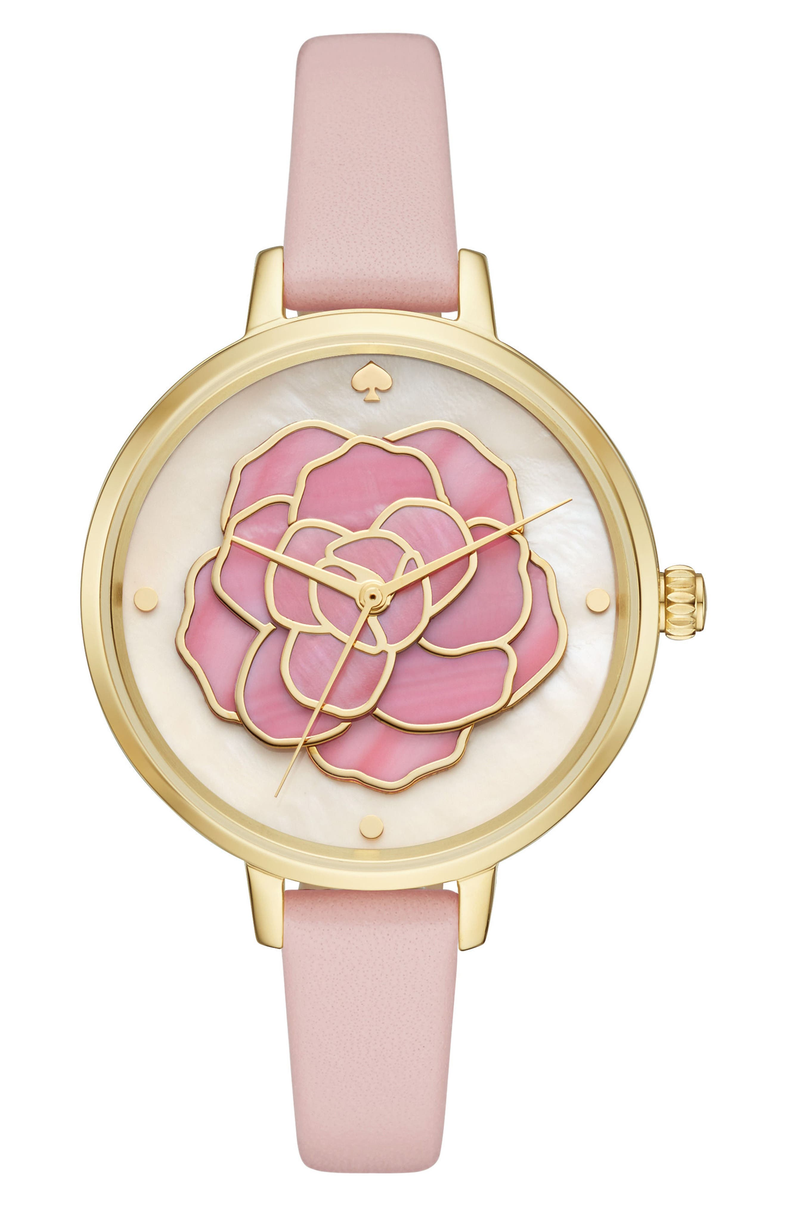 KATE SPADE NEW YORK rose leather strap watch, 34mm