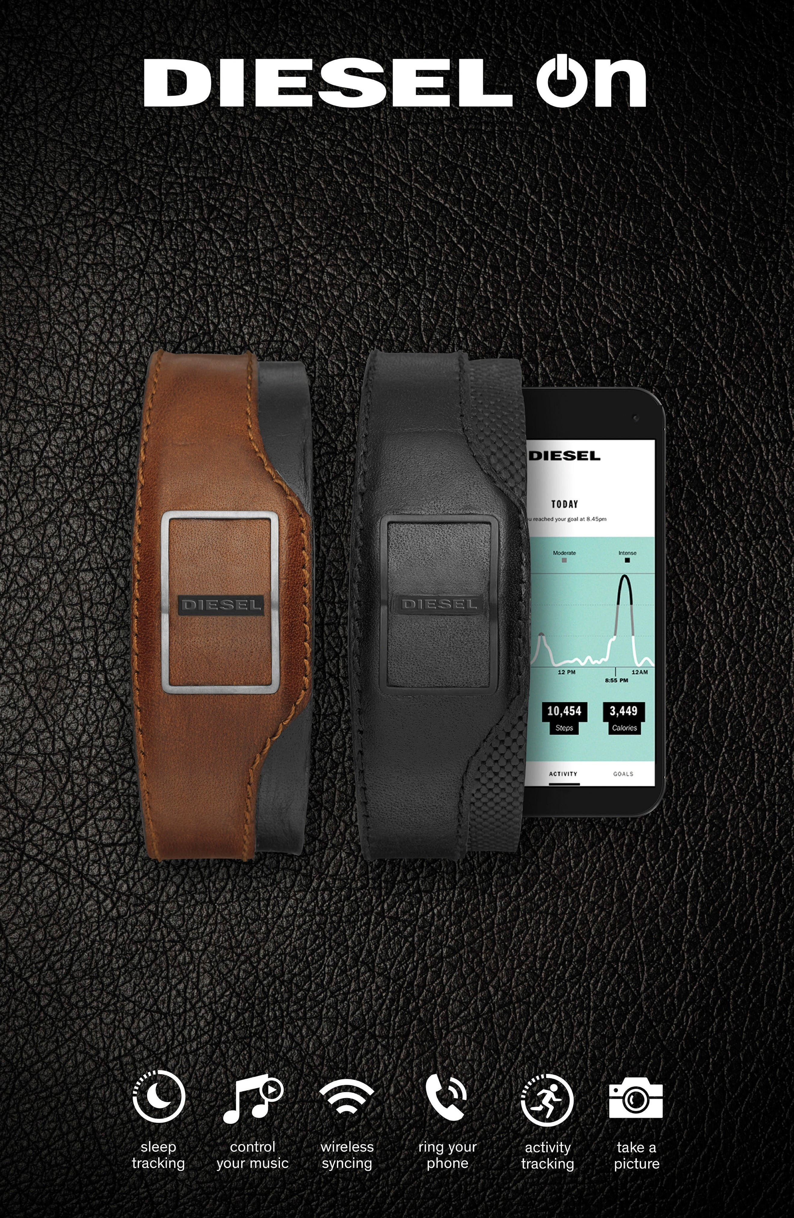 Leather Cuff Activity Tracker,                             Alternate thumbnail 2, color,                             Brown