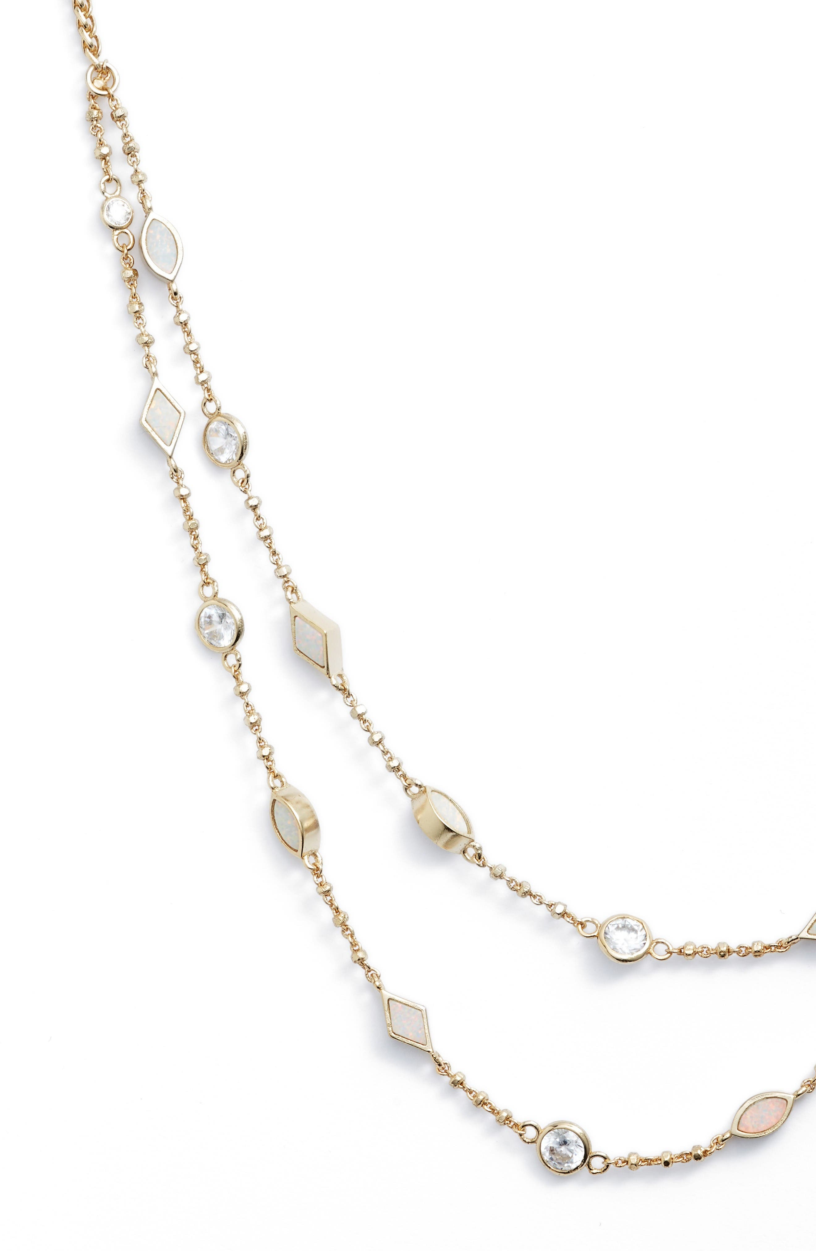 Emelina Wrap Necklace,                             Alternate thumbnail 2, color,                             Ivory Zellige/ Gold
