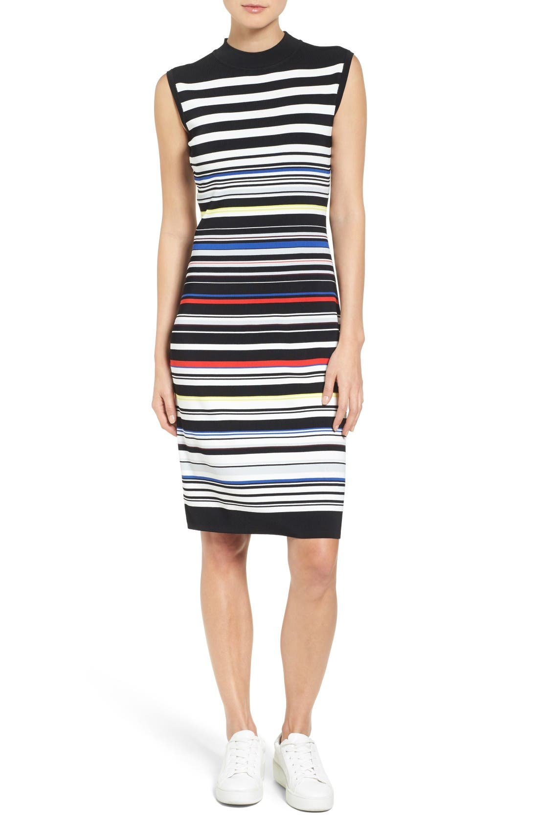 Sleeveless Mock Neck Knit Dress,                         Main,                         color, Black- Red Stripe