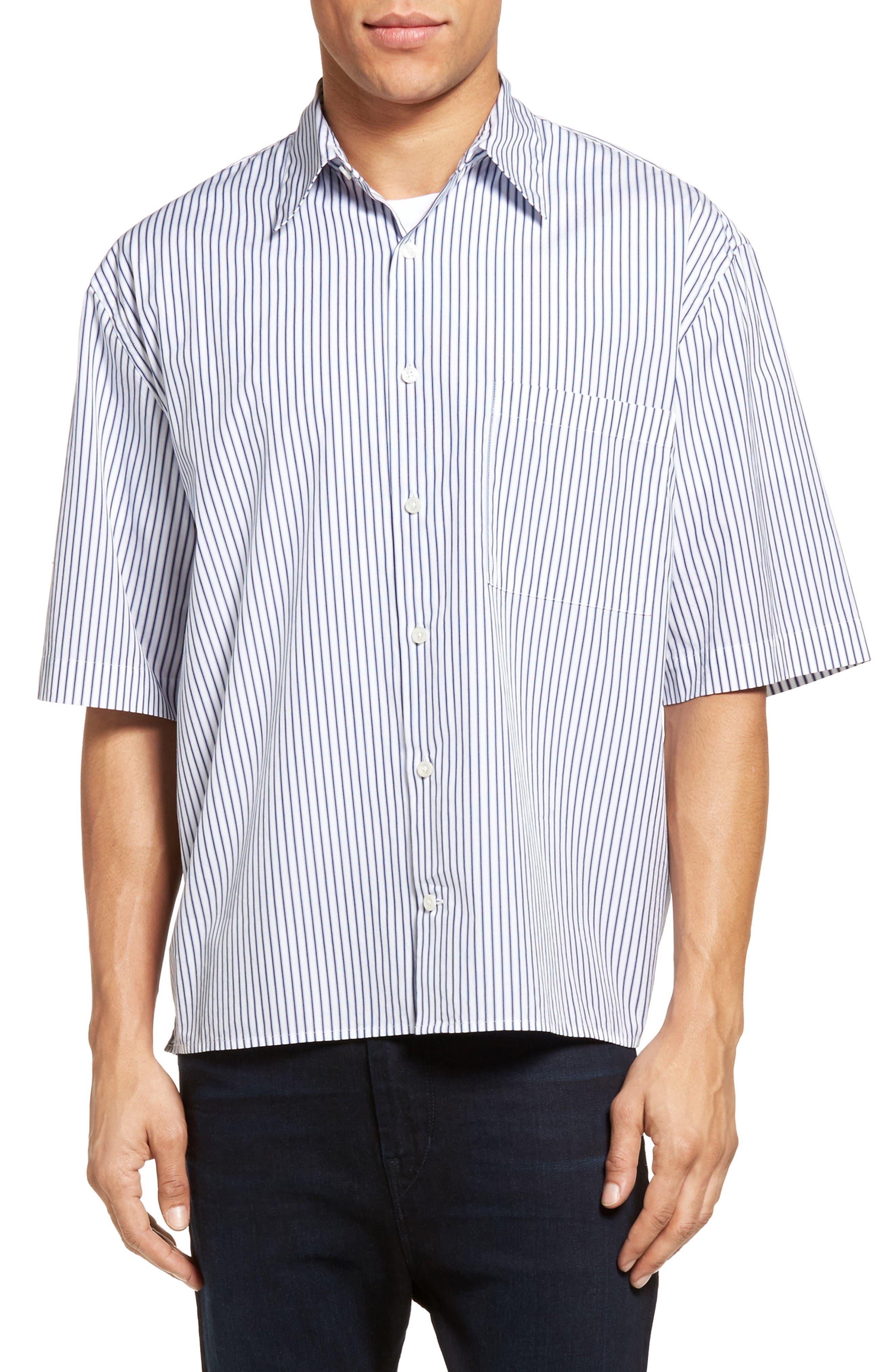 VINCE Stripe Boxy Sport Shirt