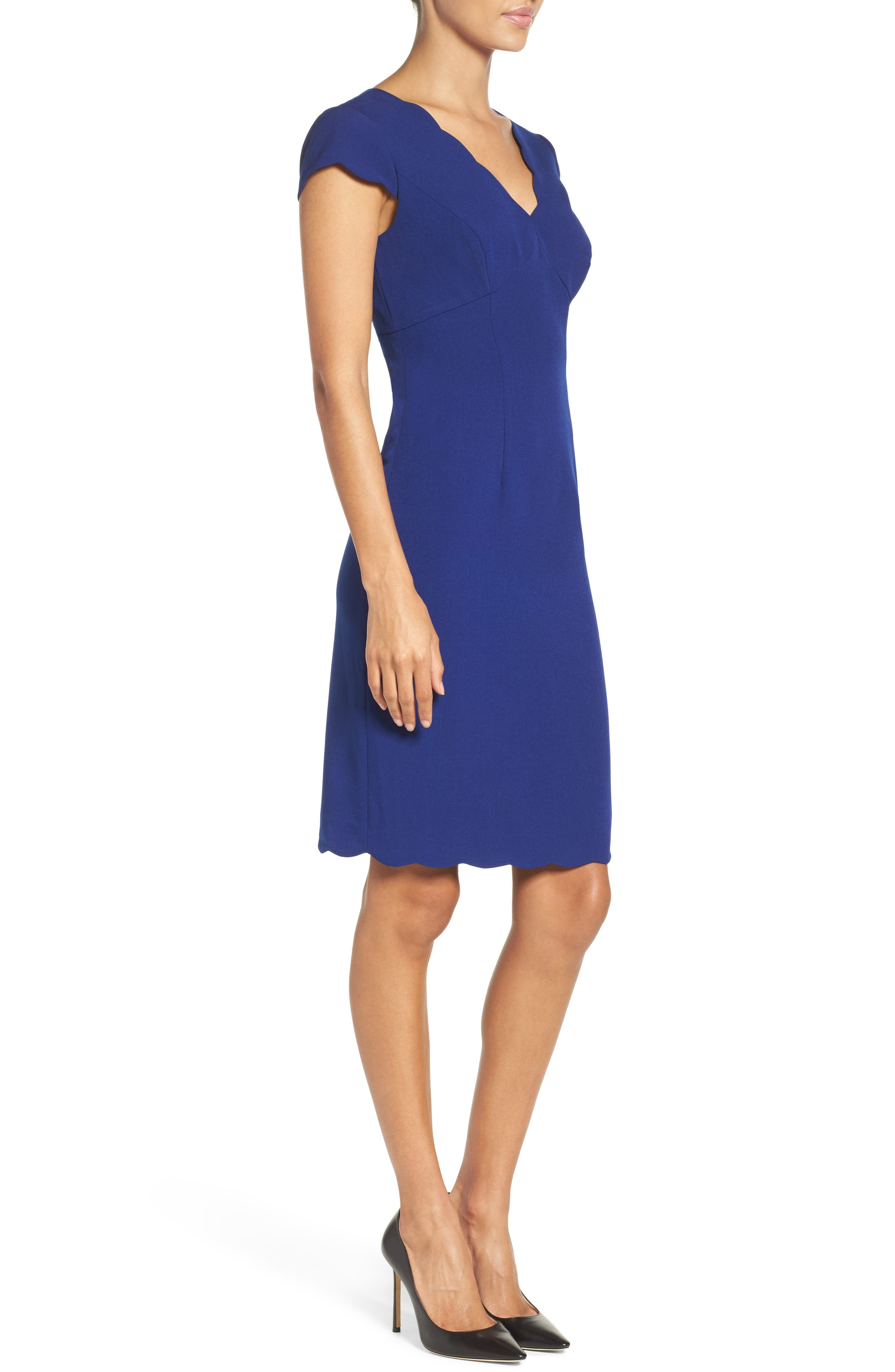 Alternate Image 3  - Adrianna Papell Scalloped Crepe Sheath Dress (Regular & Petite)