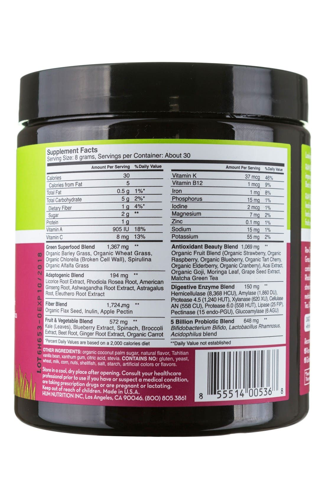 Alternate Image 2  - Hum Nutrition Raw Beauty Tahitian Vanilla & Berry Infusion Skin & Energy Green Superfood Powder