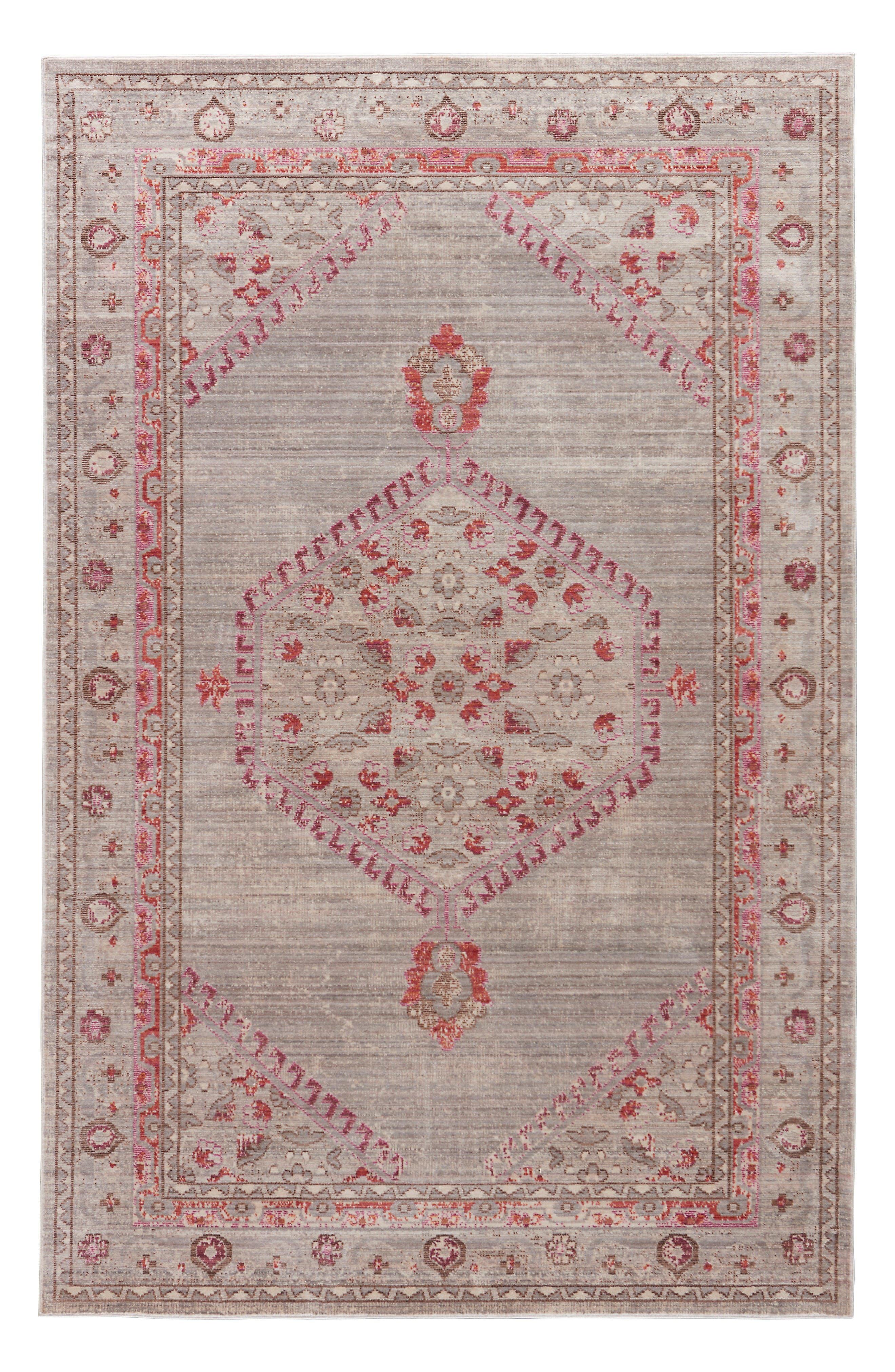 Contemporary Vintage Rug,                         Main,                         color, Pink/ Grey
